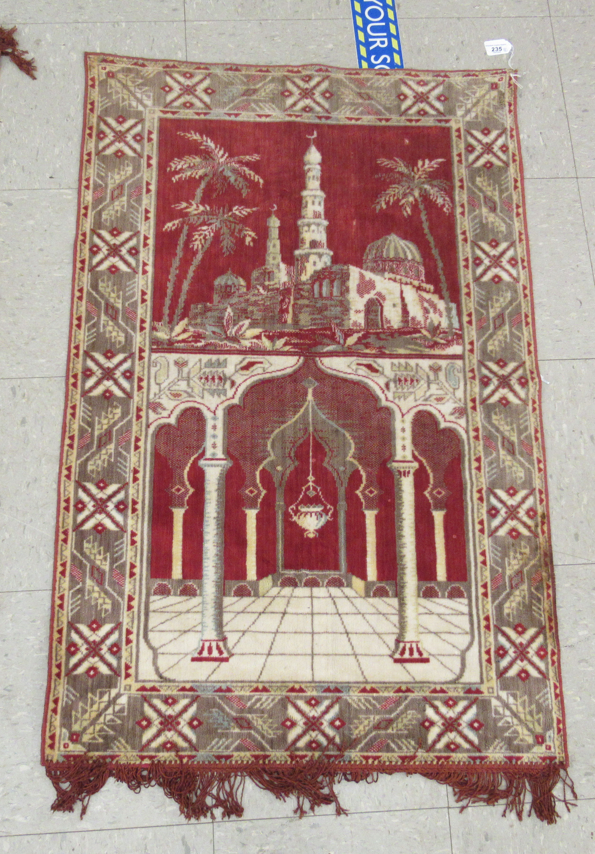 """Three wall hangings: to include a tapestry, depicting a temple 42"""" x 27"""" - Image 2 of 7"""