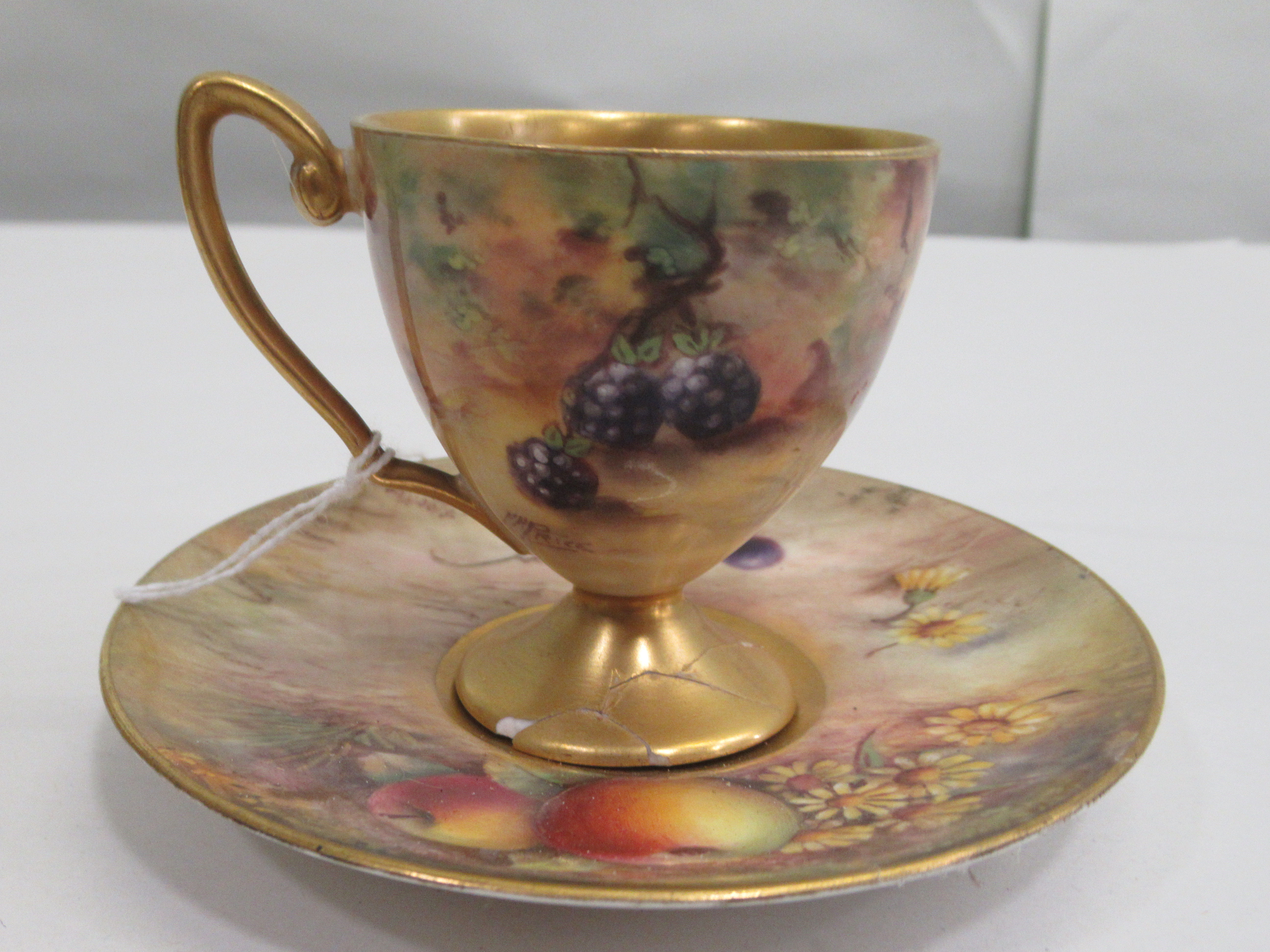 A Royal Worcester china matched pedestal coffee cup and saucer, decorated with soft fruit and - Image 2 of 14