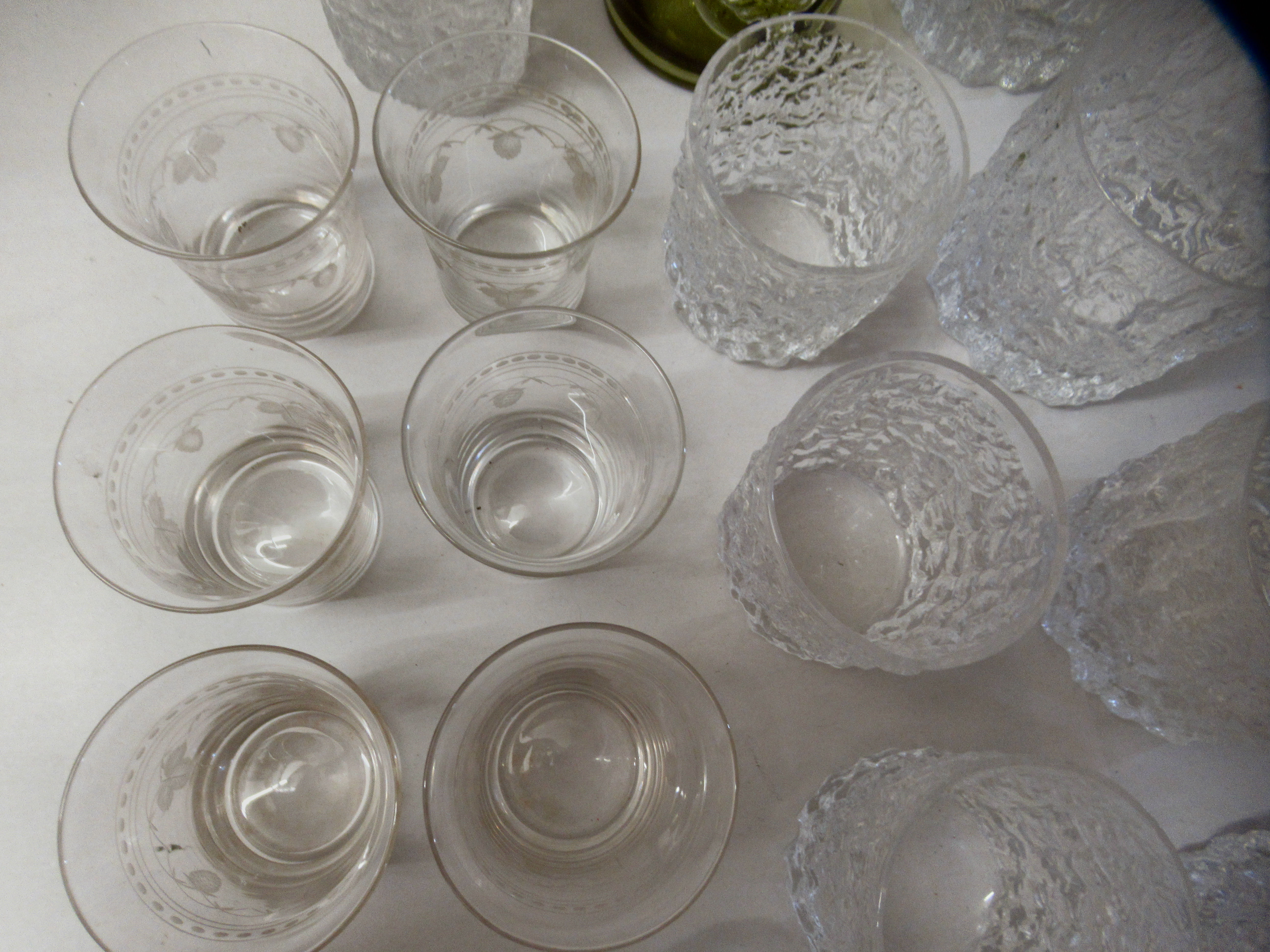 Bark effect Whitefriars cordial and other drinking glasses - Image 5 of 6