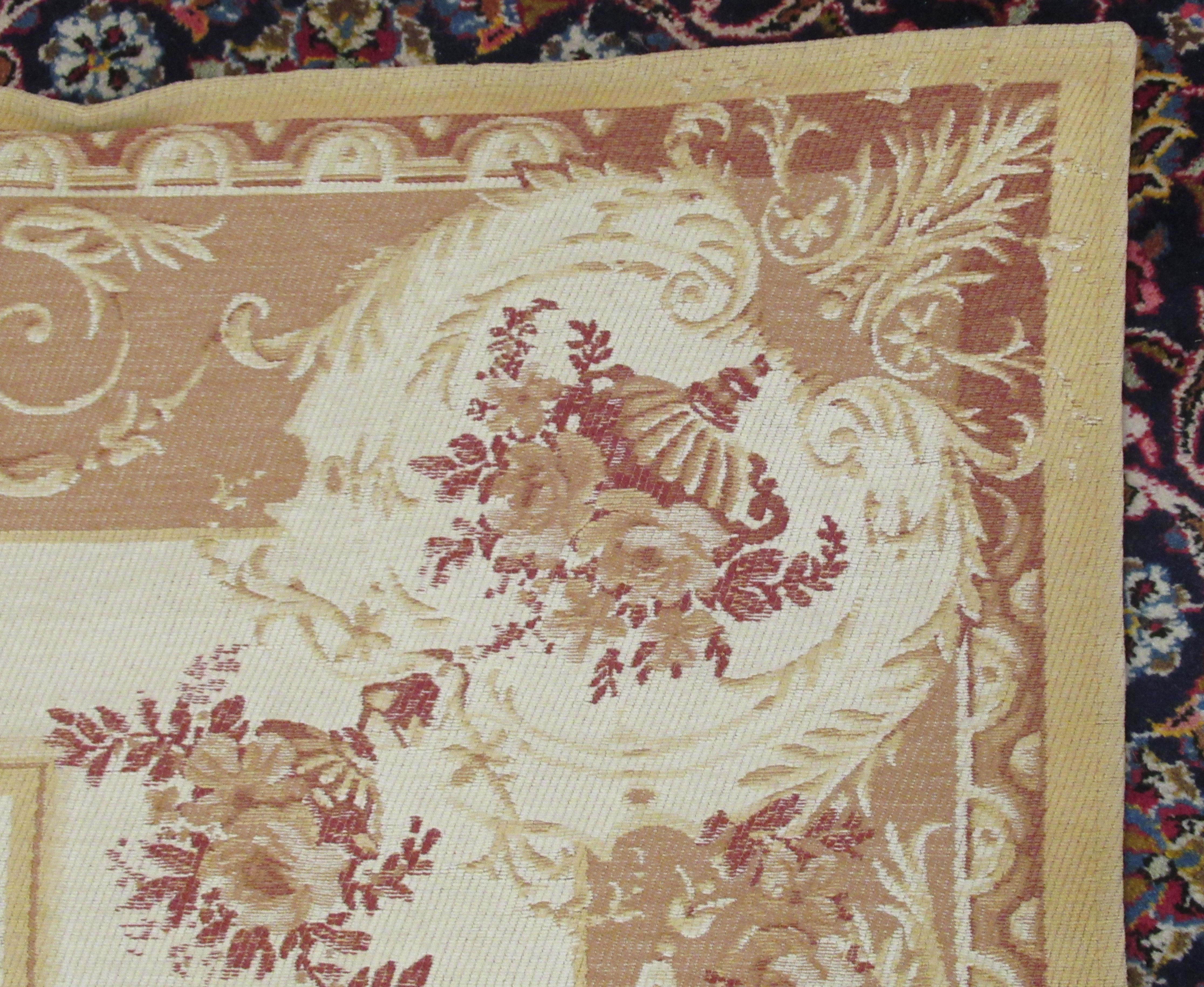 """A Belgian design wall hanging with floral decoration, on a beige ground 89"""" x 60"""" - Image 4 of 5"""