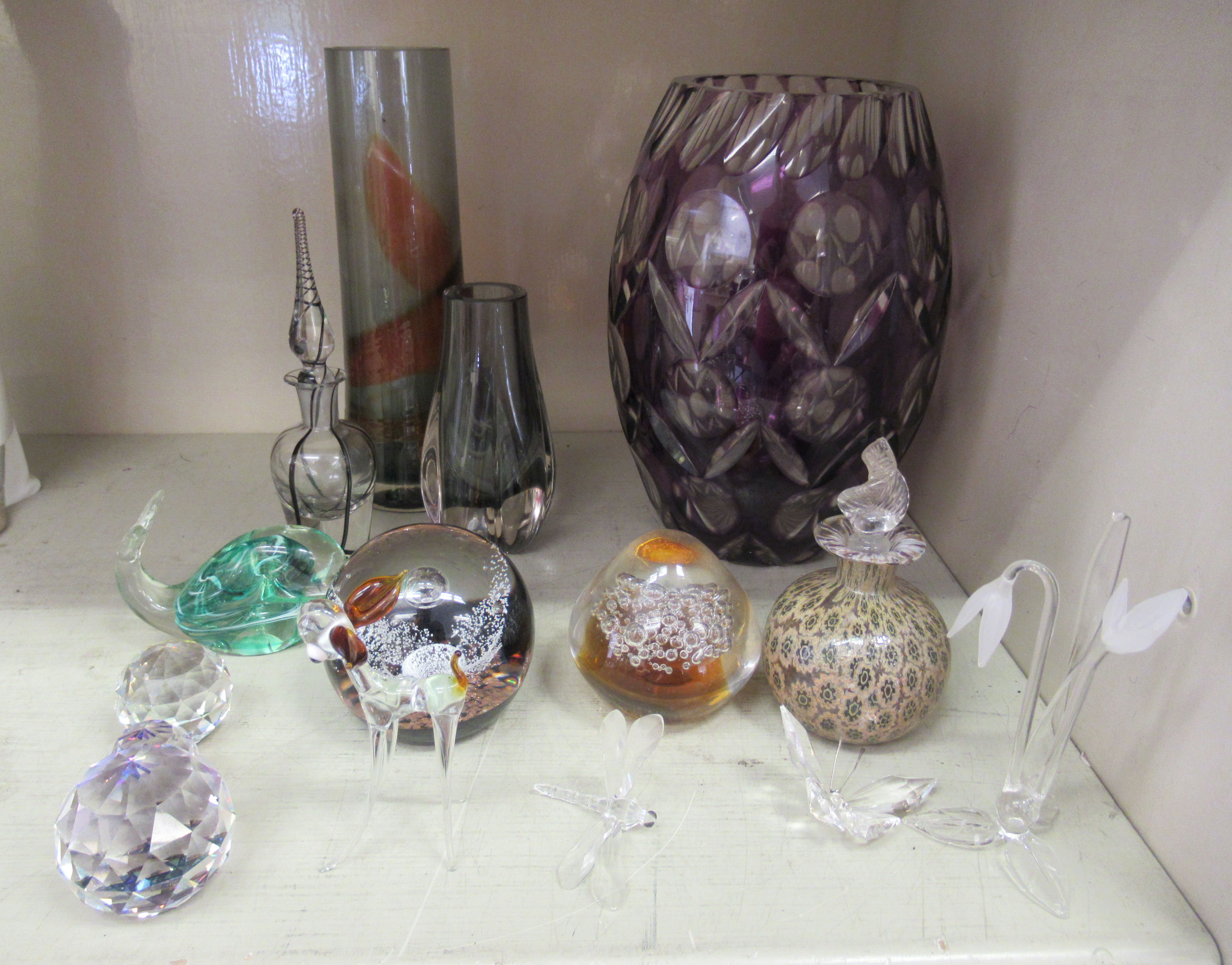 """Decorative glassware: to include a Caithness paperweight 'Free Spirit' 3.5""""dia"""