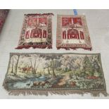 """Three wall hangings: to include a tapestry, depicting a temple 42"""" x 27"""""""