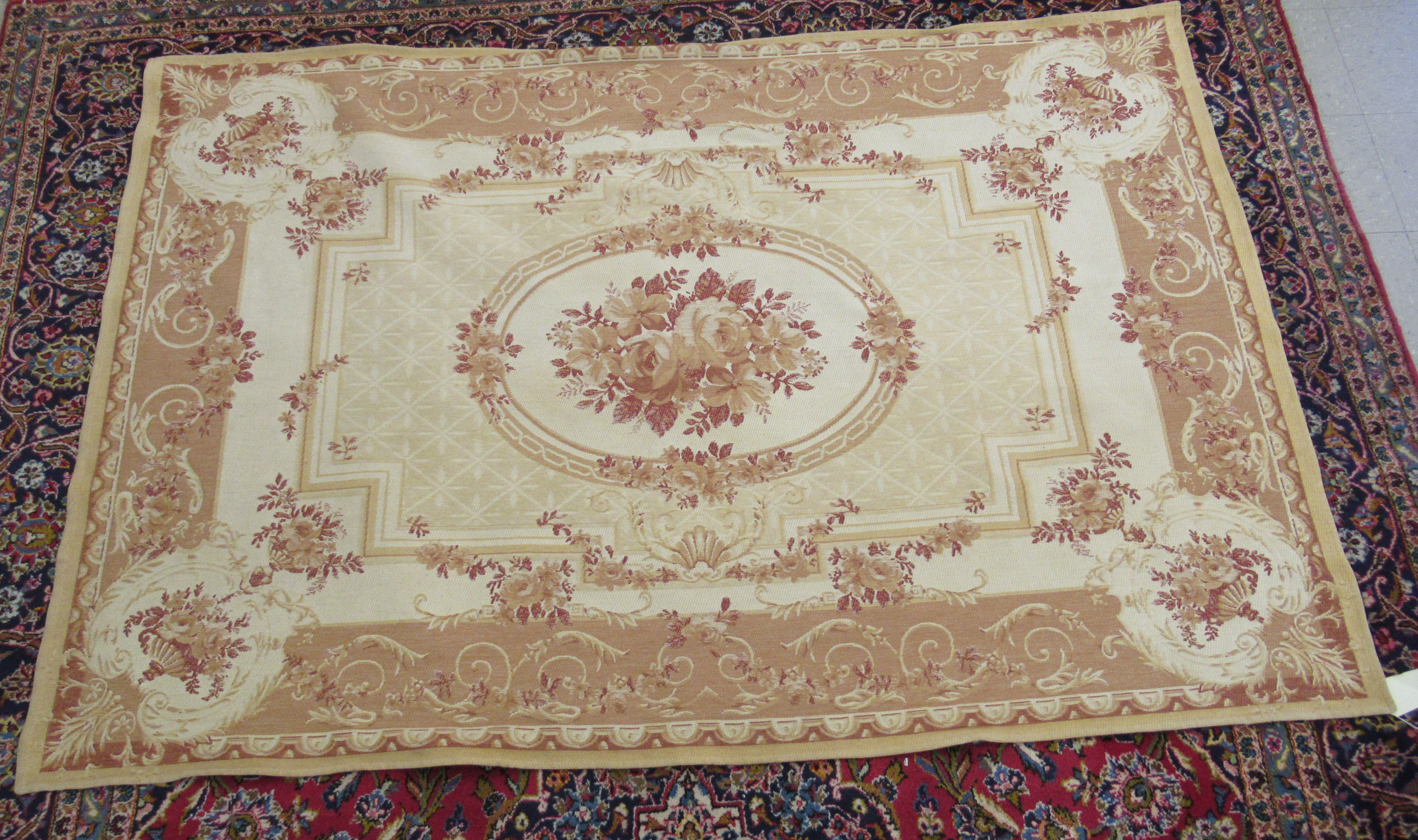 """A Belgian design wall hanging with floral decoration, on a beige ground 89"""" x 60"""""""