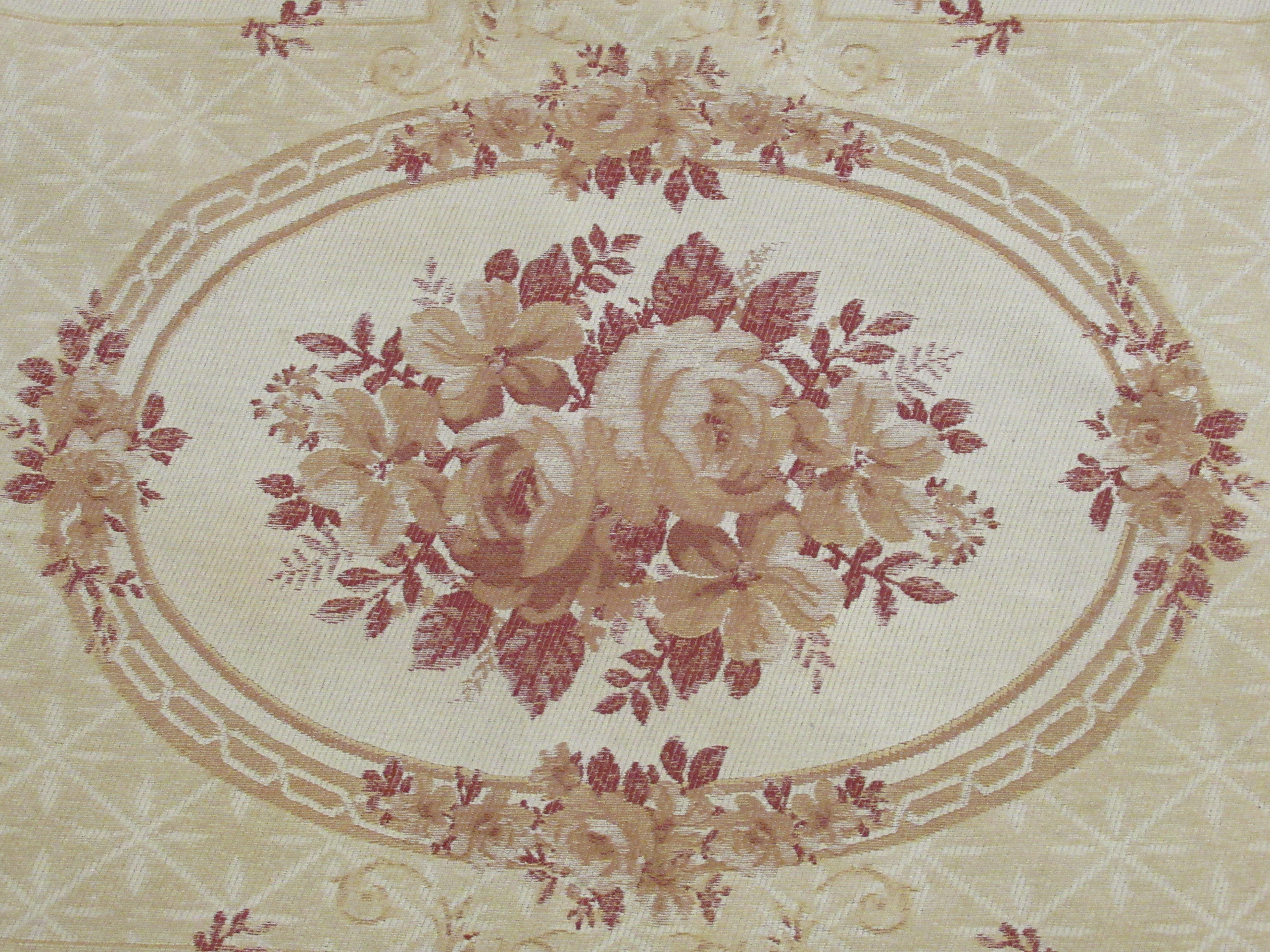 """A Belgian design wall hanging with floral decoration, on a beige ground 89"""" x 60"""" - Image 2 of 5"""
