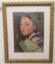 """20thC Continental School - a head and shoulders portrait, a yound woman oil on board 17"""" x 14"""""""