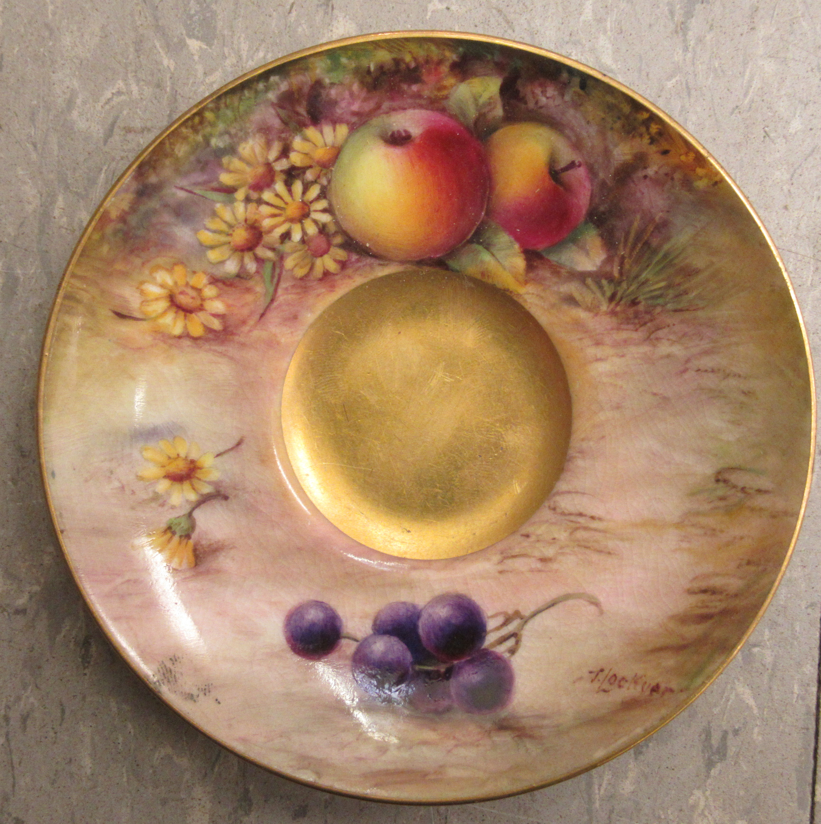 A Royal Worcester china matched pedestal coffee cup and saucer, decorated with soft fruit and - Image 9 of 14