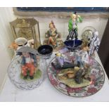 """A mixed lot: to include modern ceramics and Capo-di-monte style composition figures largest 7""""h"""