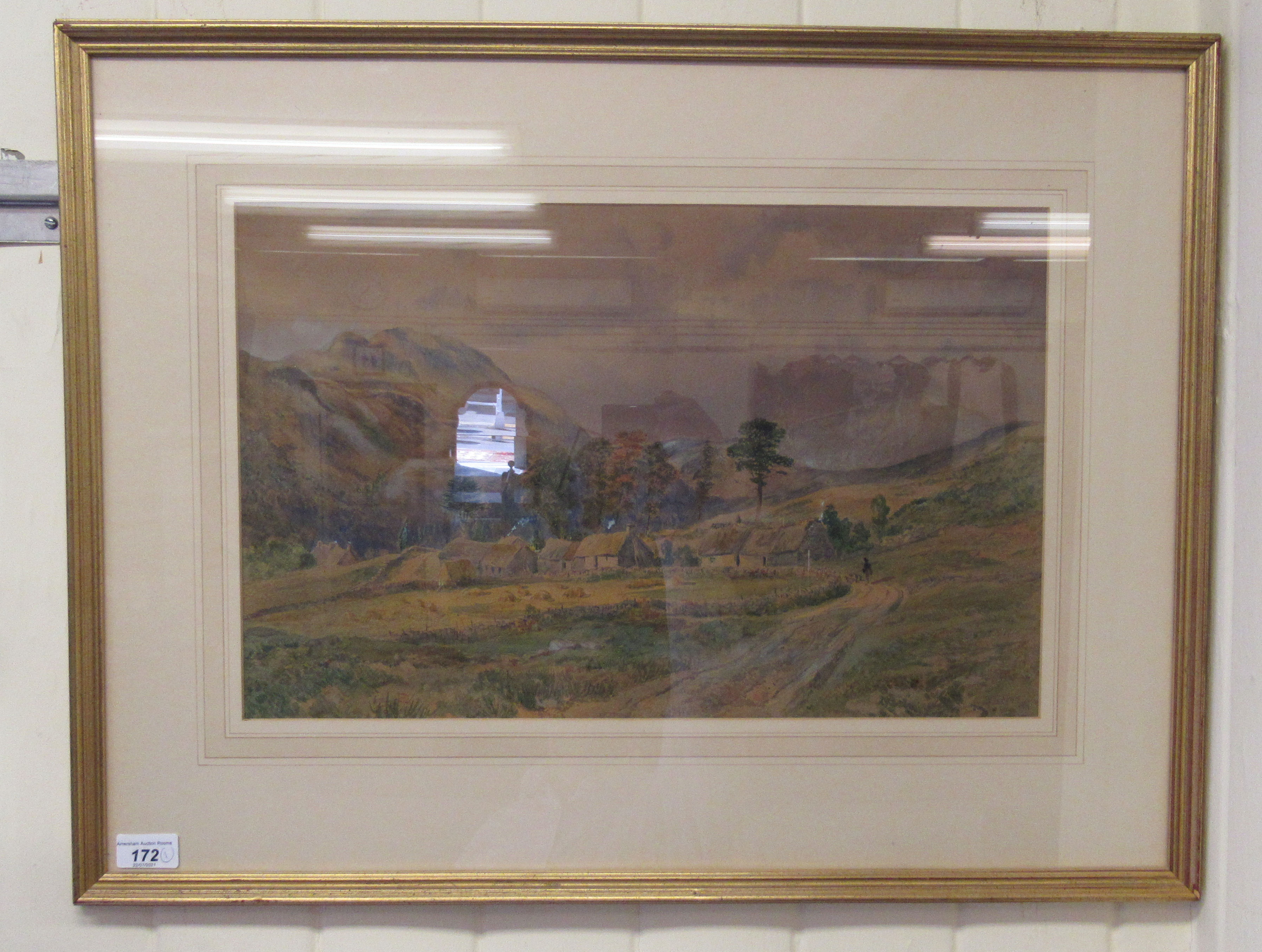 """WW Fenn - a landscape with cottage and hills beyond watercolour bears a signature 19.5"""" x 12"""" - Image 2 of 4"""
