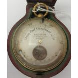 An early 20thC brass cased Callachan of 23 New Bond Street, London pocket, aneroid combination