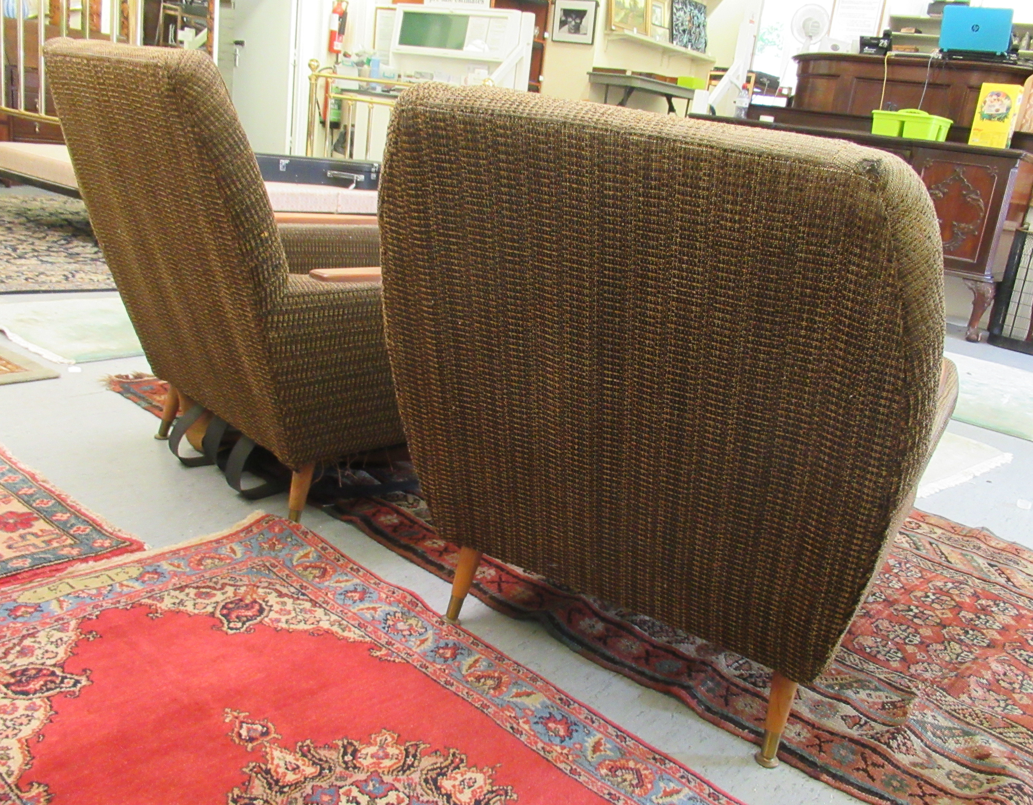 A pair of 1960s/1970s three tone, textured fabric upholstered, low, enclosed armchairs with panelled - Image 5 of 5