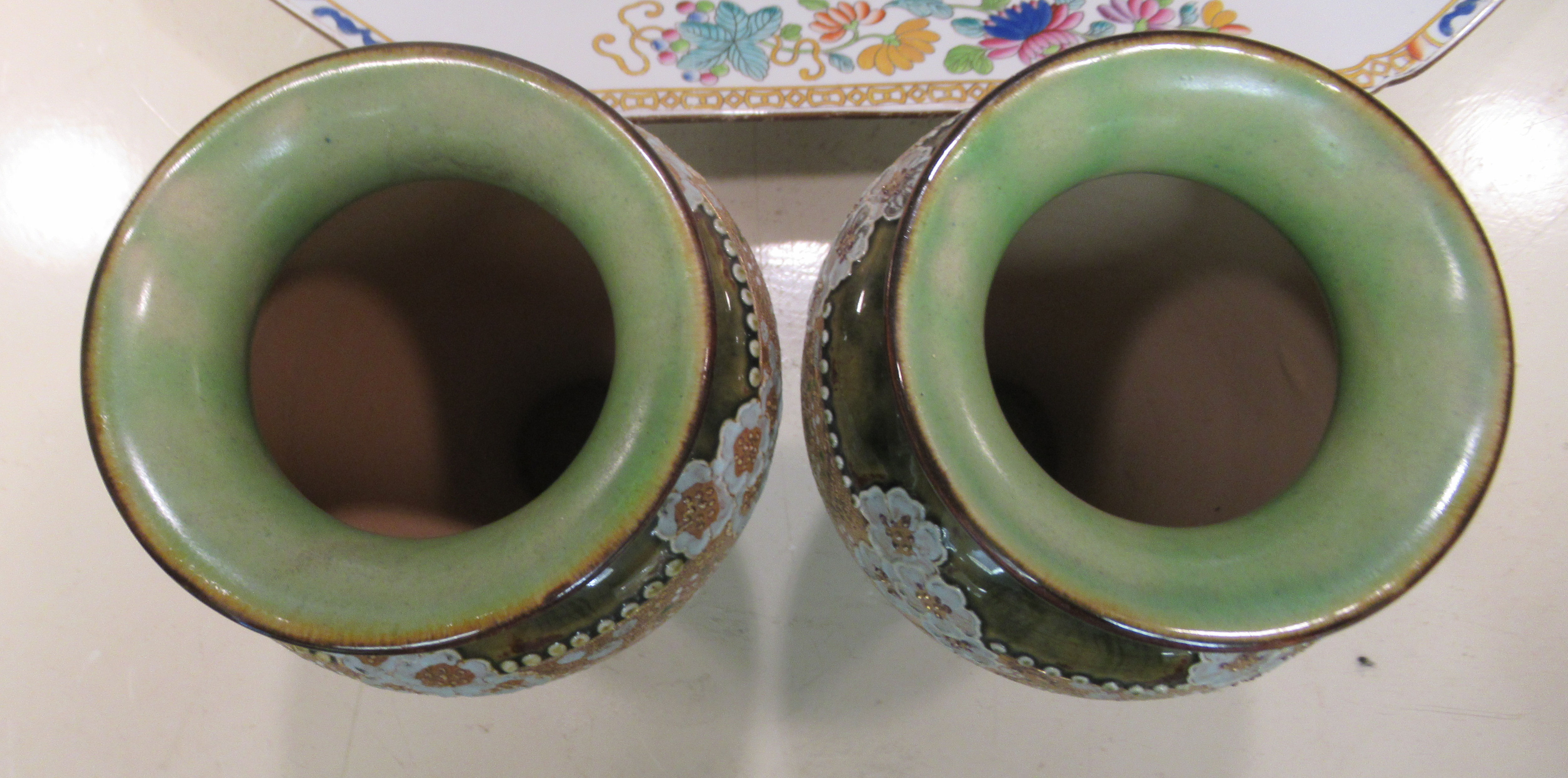 """A pair of Royal Doulton stoneware vases, each with pressed lace decoration 8.5""""h - Image 3 of 5"""
