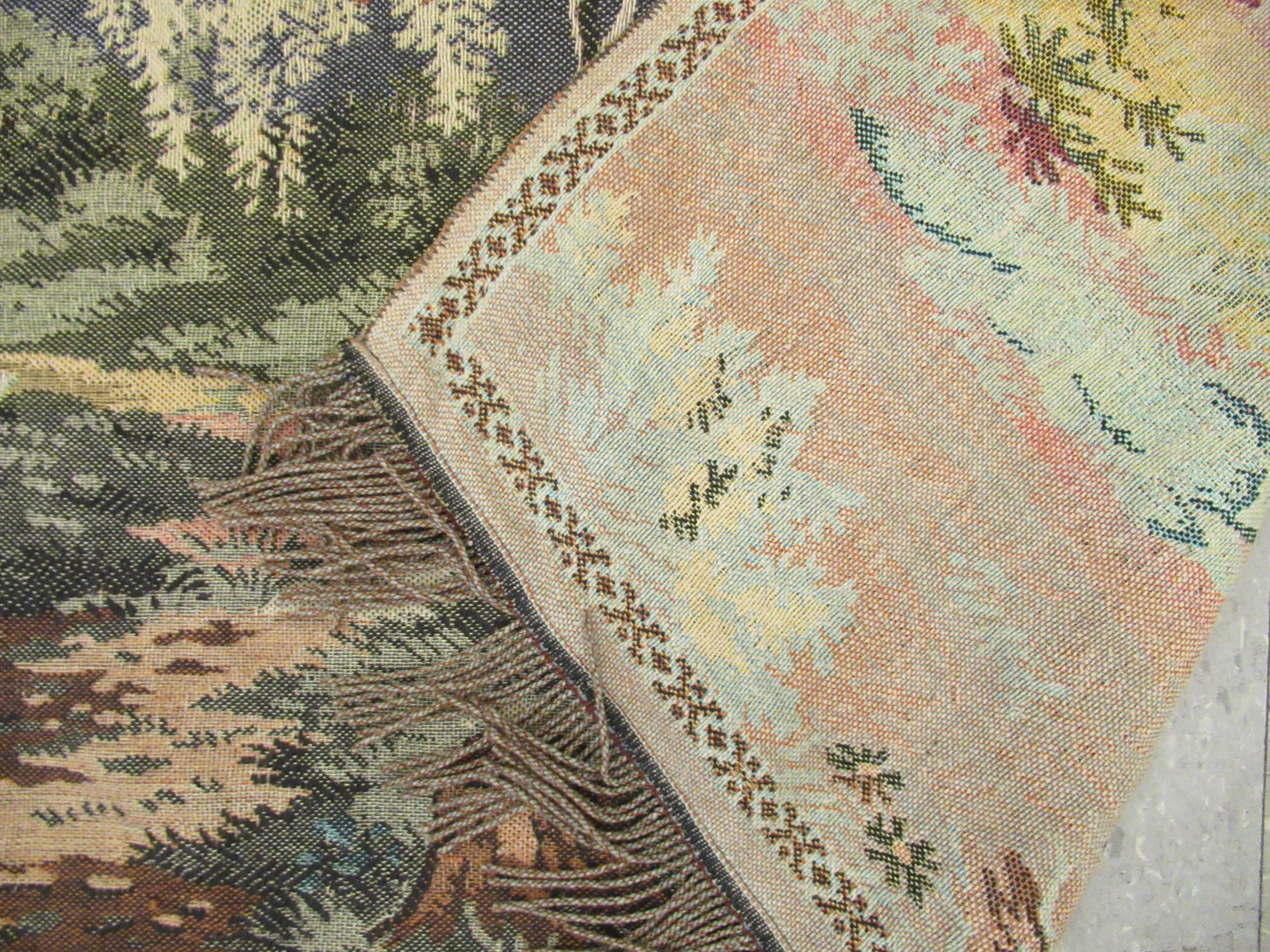 """Three wall hangings: to include a tapestry, depicting a temple 42"""" x 27"""" - Image 7 of 7"""