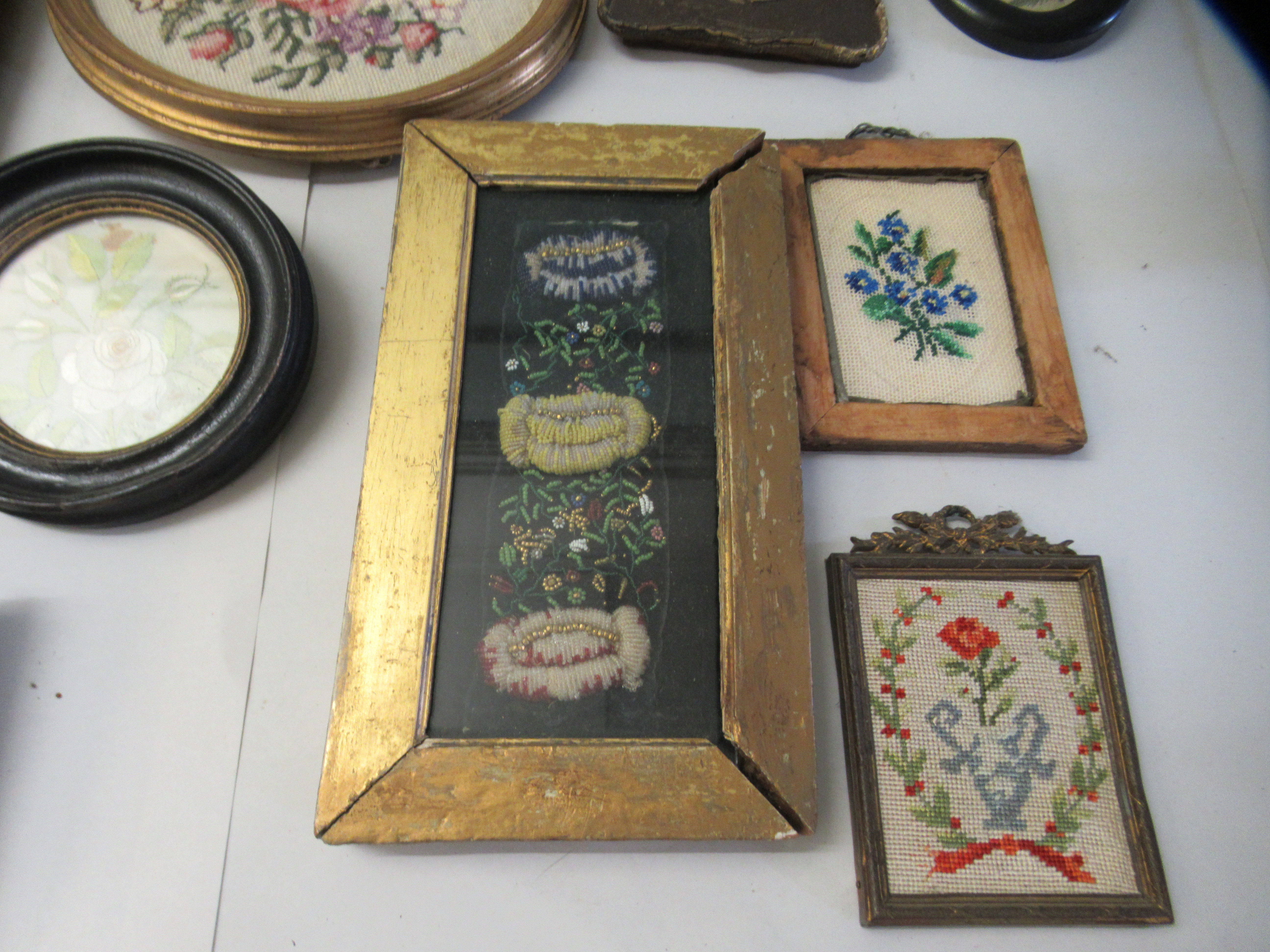 19th and 20thC embroidered tapestry panels various designs & sizes framed - Image 6 of 7