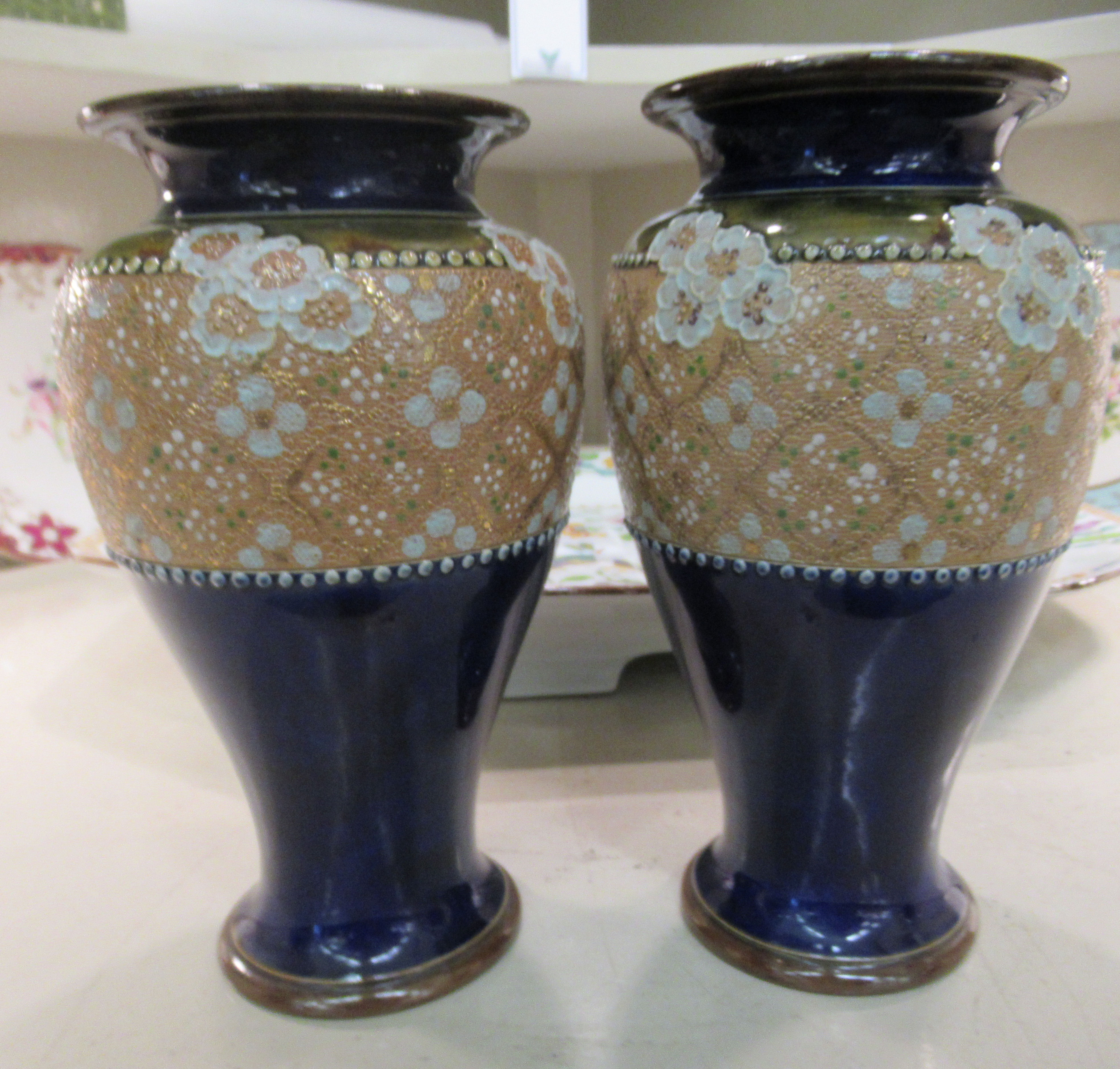"""A pair of Royal Doulton stoneware vases, each with pressed lace decoration 8.5""""h - Image 2 of 5"""