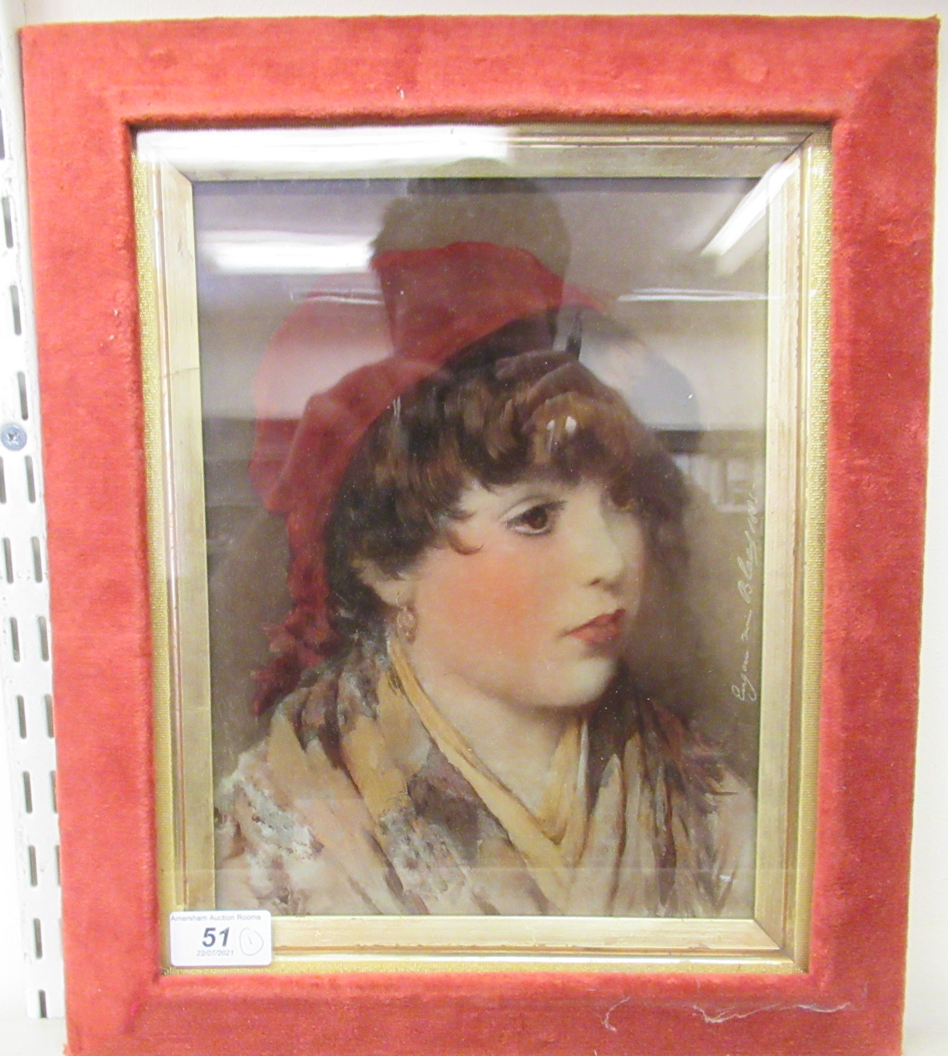 """After Eugene Von Blaas - a reverse painted photograph on glass, a young woman 11"""" x 8"""" framed"""