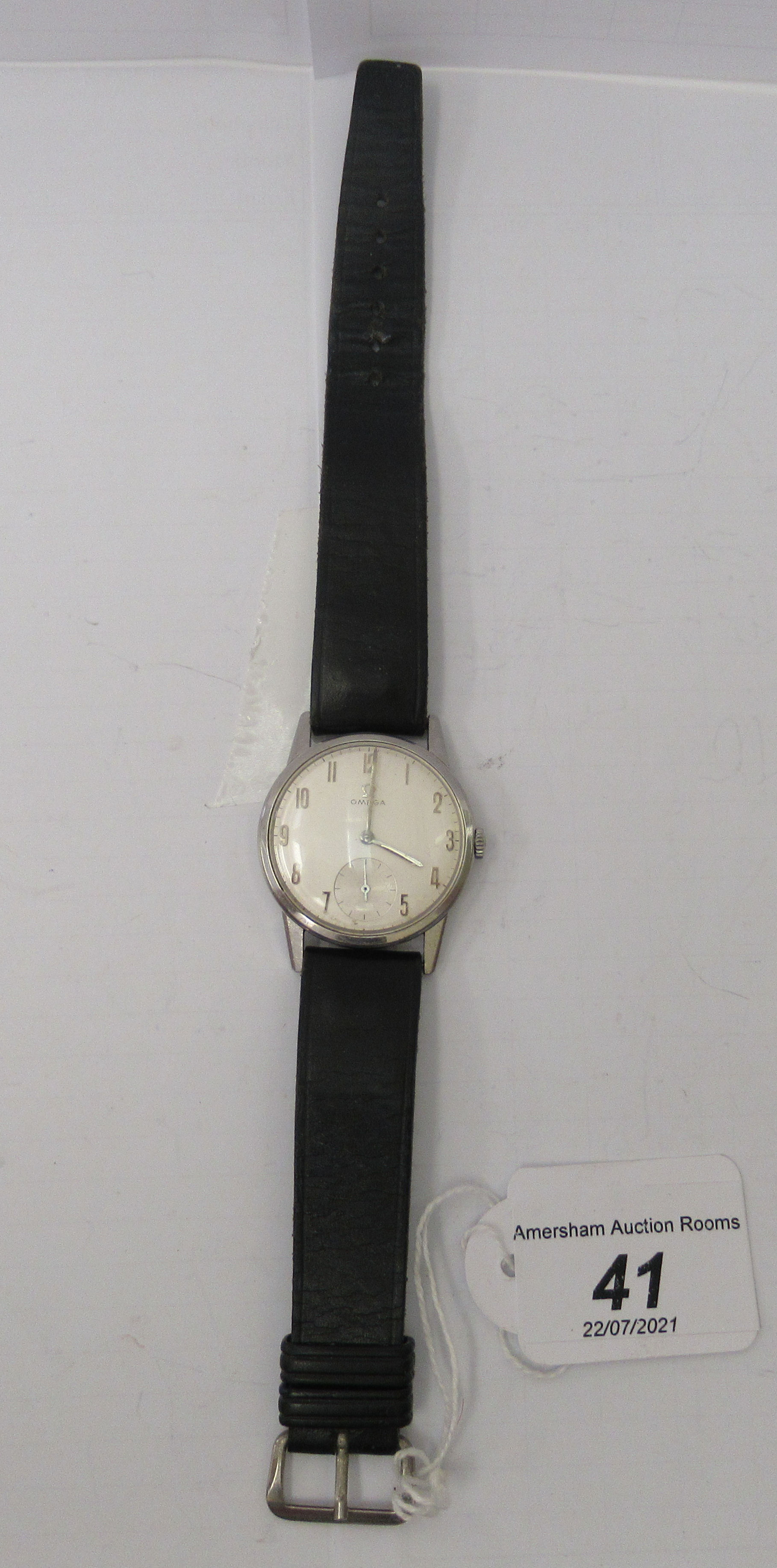 An Omega stainless steel cased wristwatch, faced by an Arabic dial with subsidiary seconds, on a - Image 3 of 3