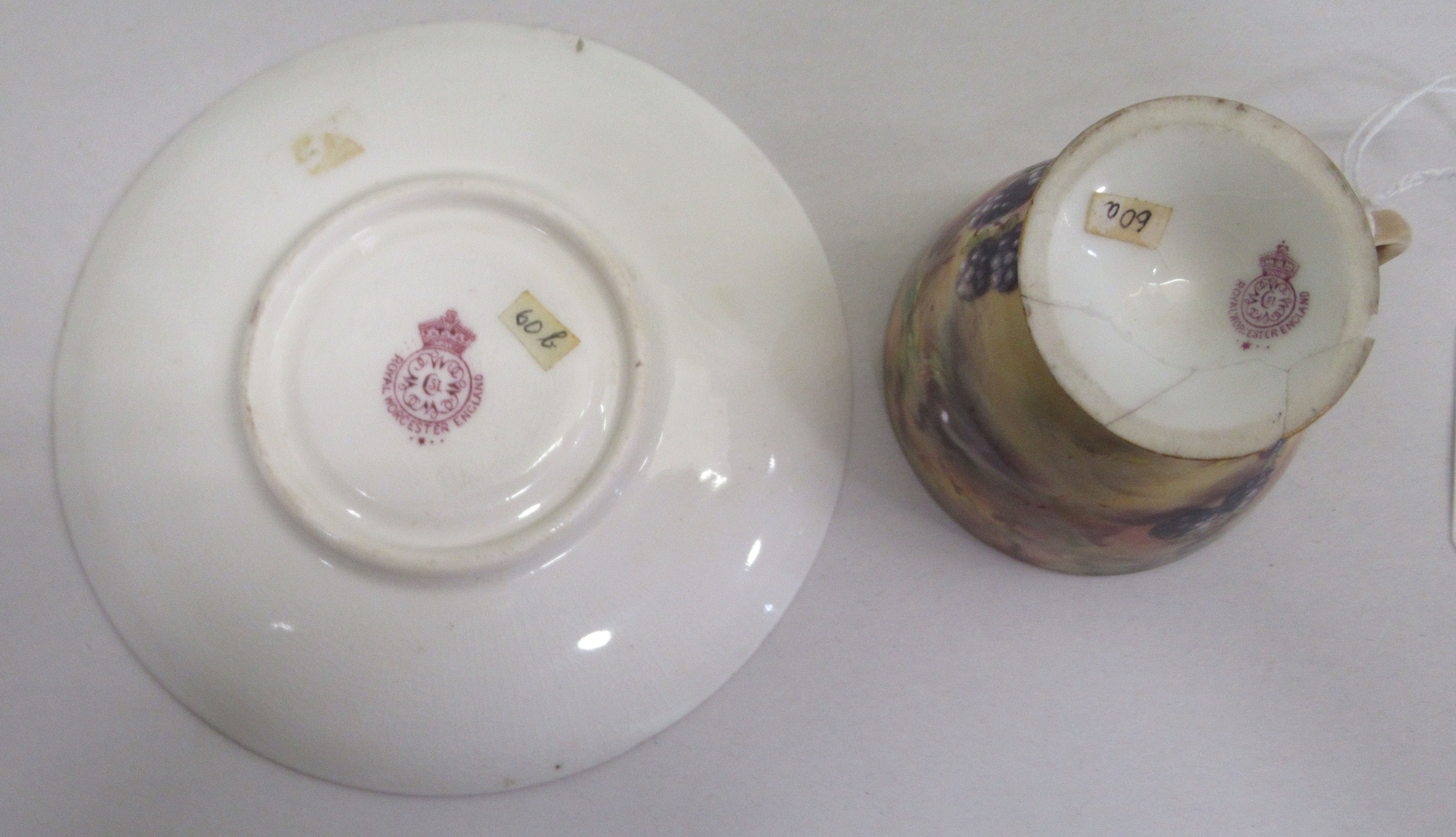 A Royal Worcester china matched pedestal coffee cup and saucer, decorated with soft fruit and - Image 4 of 14
