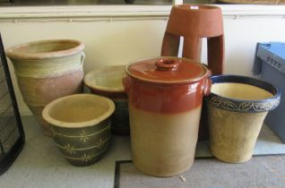 """Six stoneware/terracotta and pottery planters various forms largest 22""""h"""