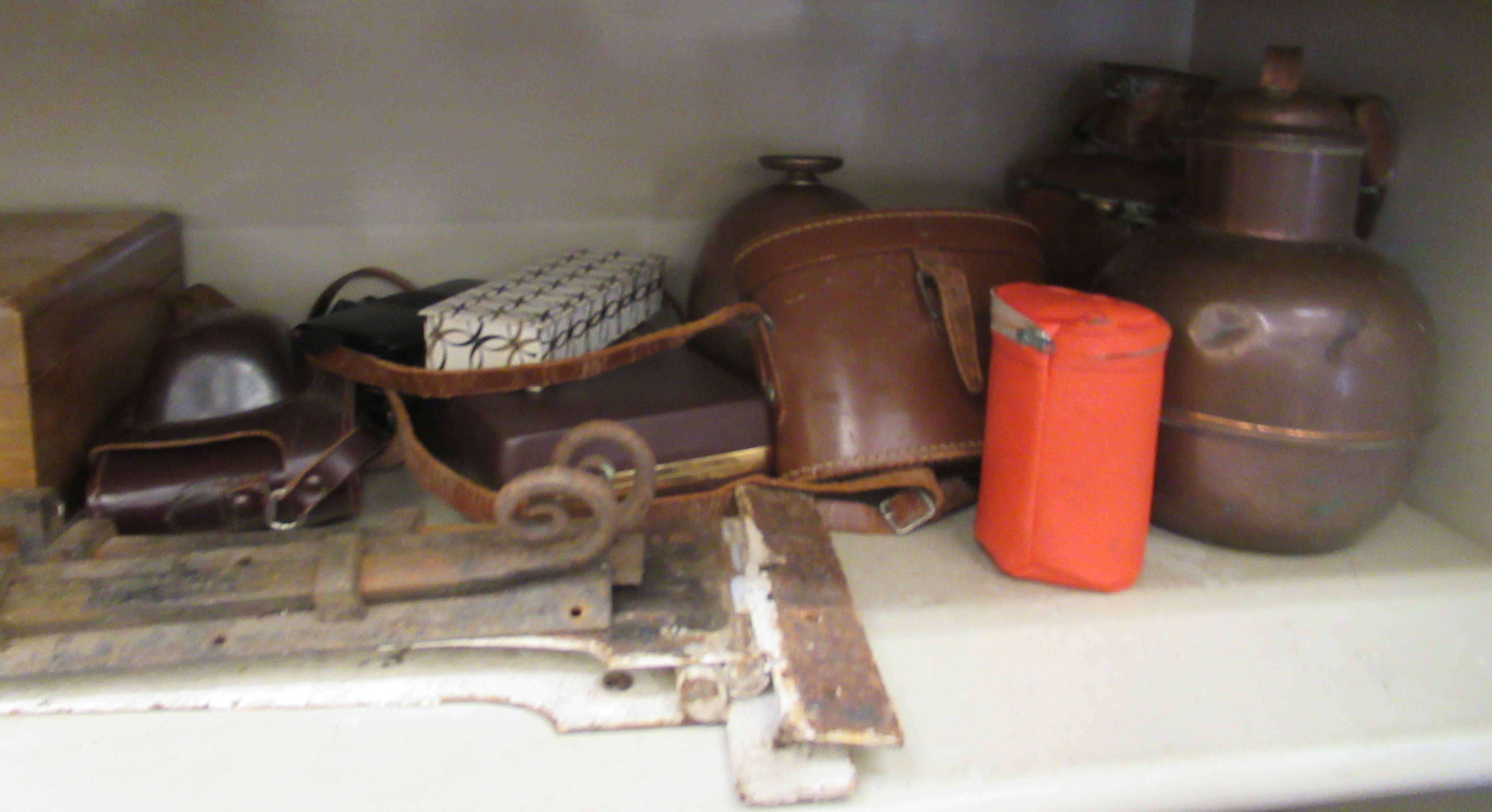 A mixed lot: to include 19thC cast iron door furniture; decorative metalware; optical equipment; - Image 4 of 6
