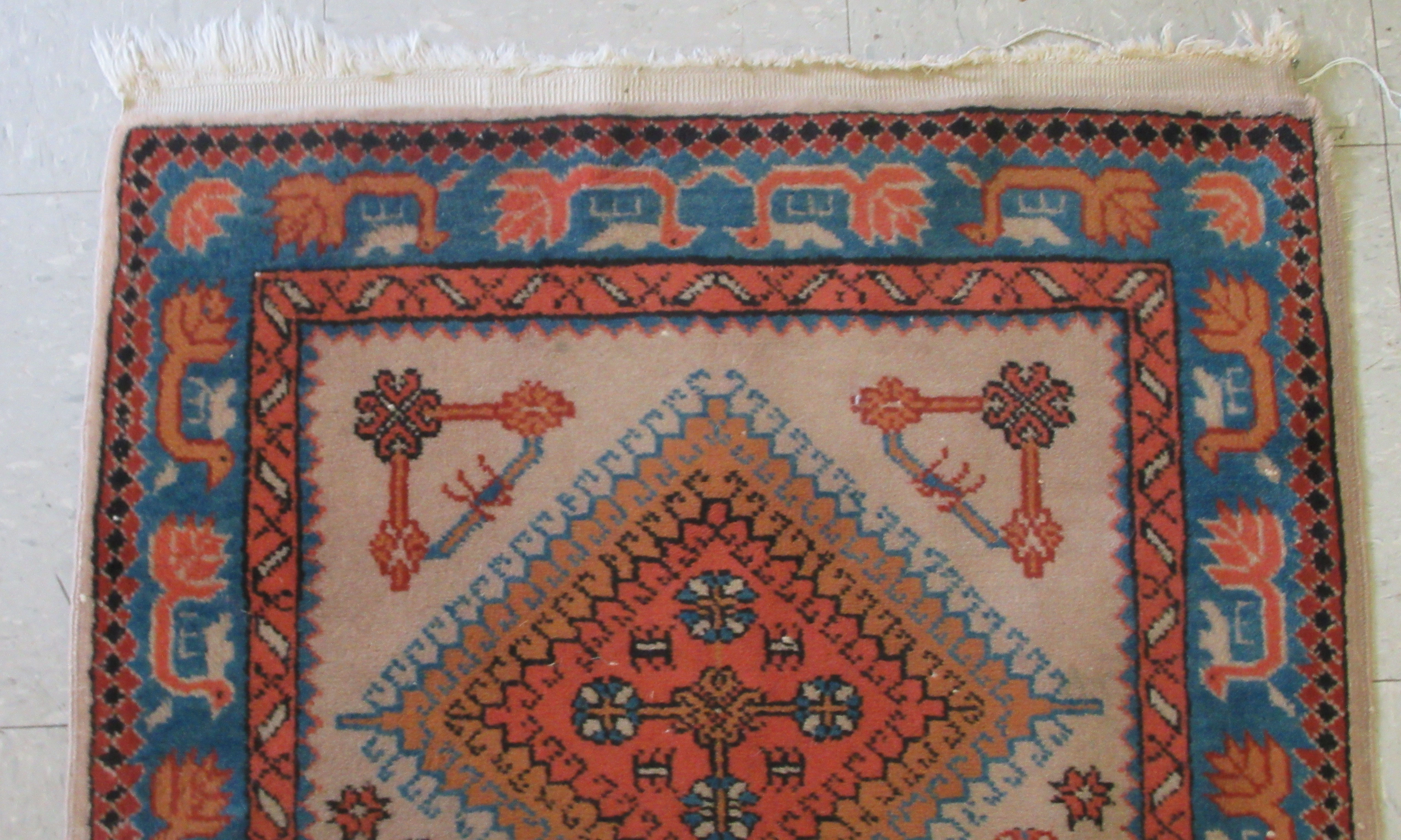 A Samarkand runner, decorated with repeating diamond formations, bordered by stylised designs, on - Image 3 of 5