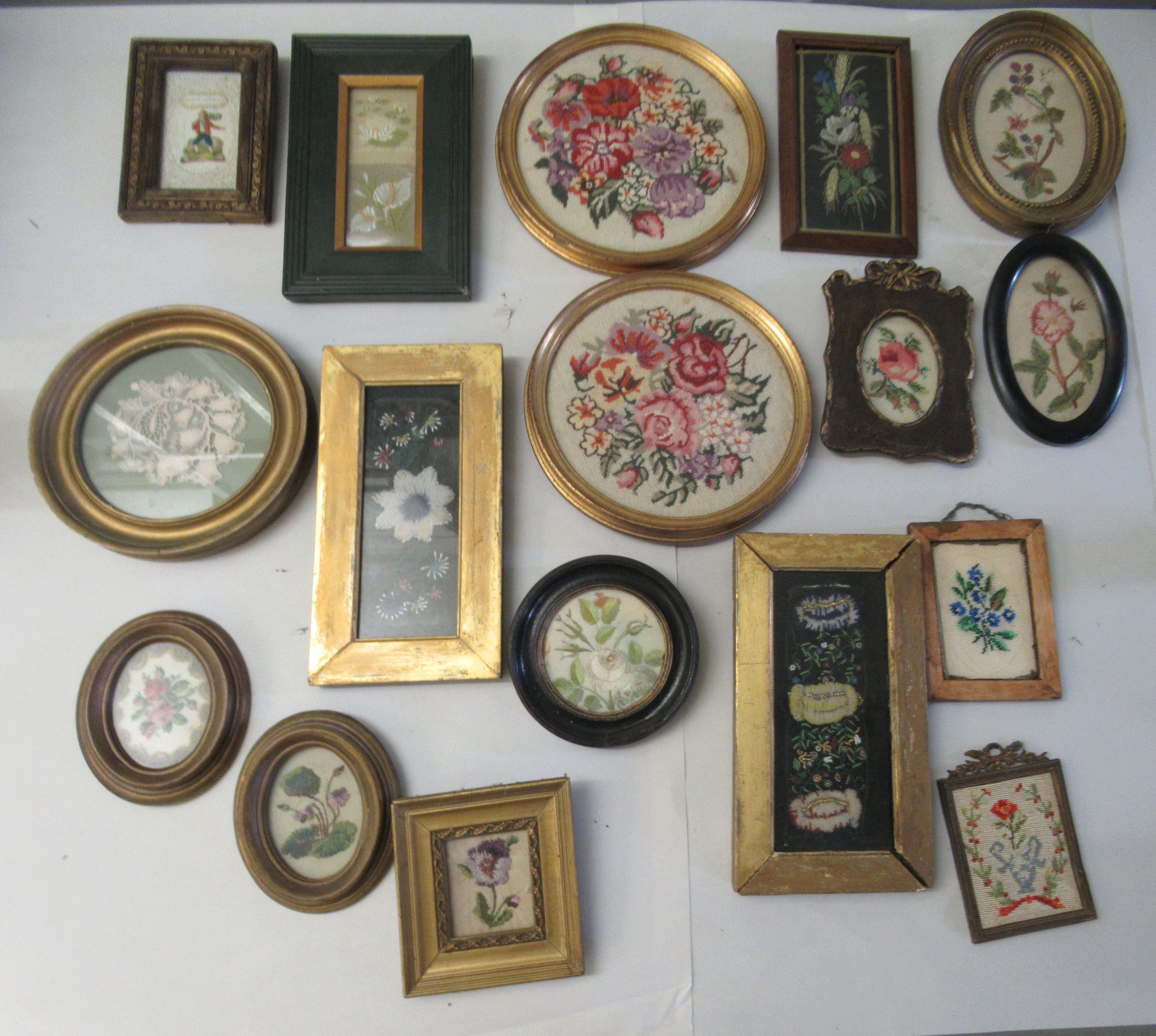 19th and 20thC embroidered tapestry panels various designs & sizes framed