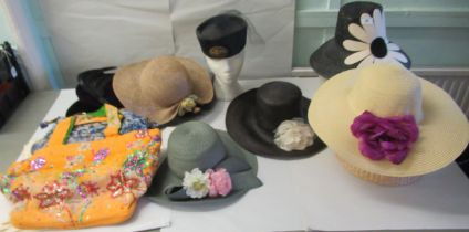 Ladies fashion accessories: to include various hats and handbags