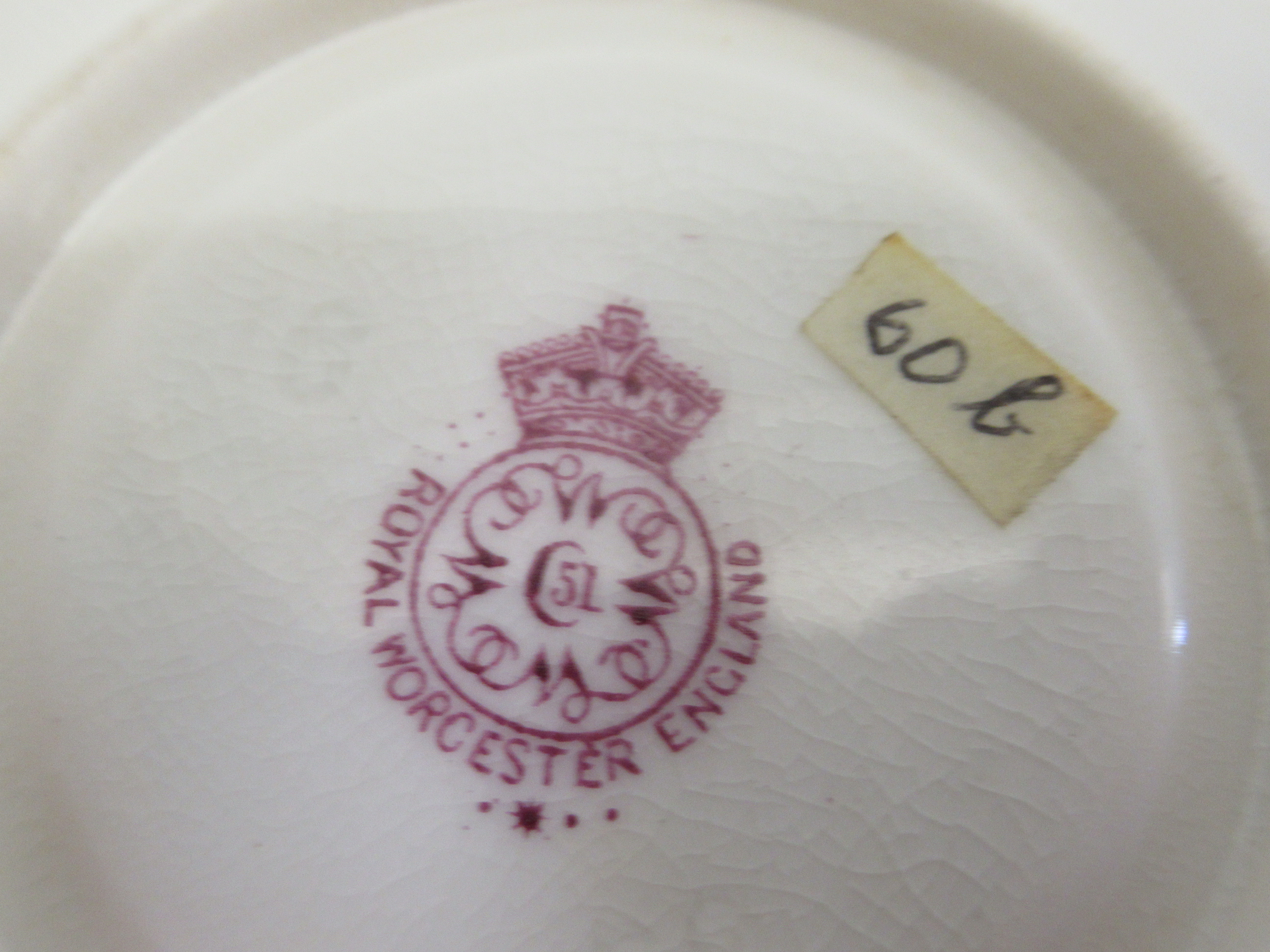 A Royal Worcester china matched pedestal coffee cup and saucer, decorated with soft fruit and - Image 7 of 14