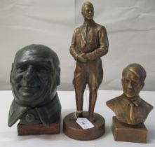 """A bronze finished bust of Hitler 6.5""""h; another in standing pose 11""""h; and a lead finished bust,"""