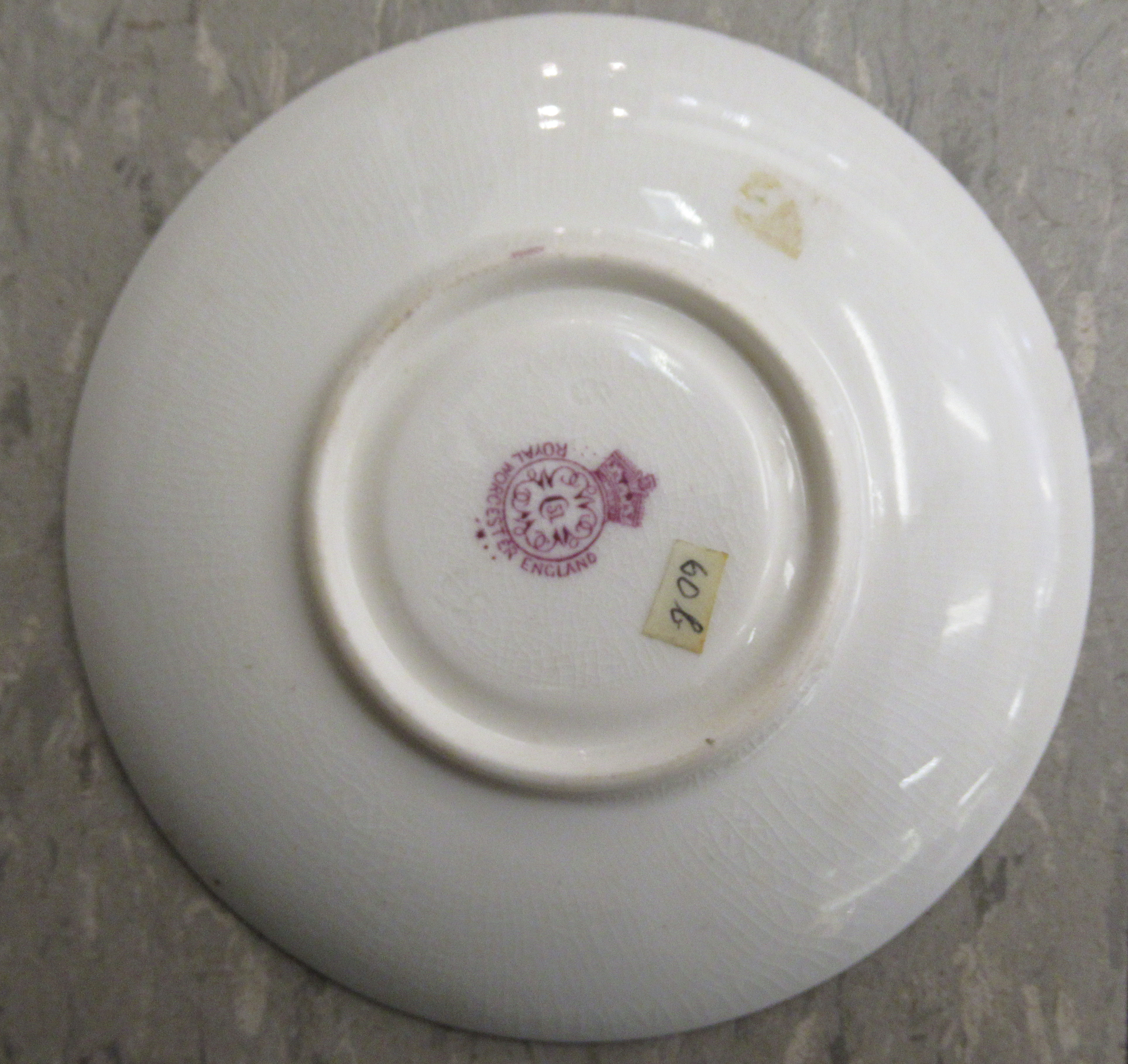 A Royal Worcester china matched pedestal coffee cup and saucer, decorated with soft fruit and - Image 10 of 14