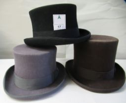 A Major Ware chocolate brown top hat size 6; a Major grey top hat size S; another, in brown