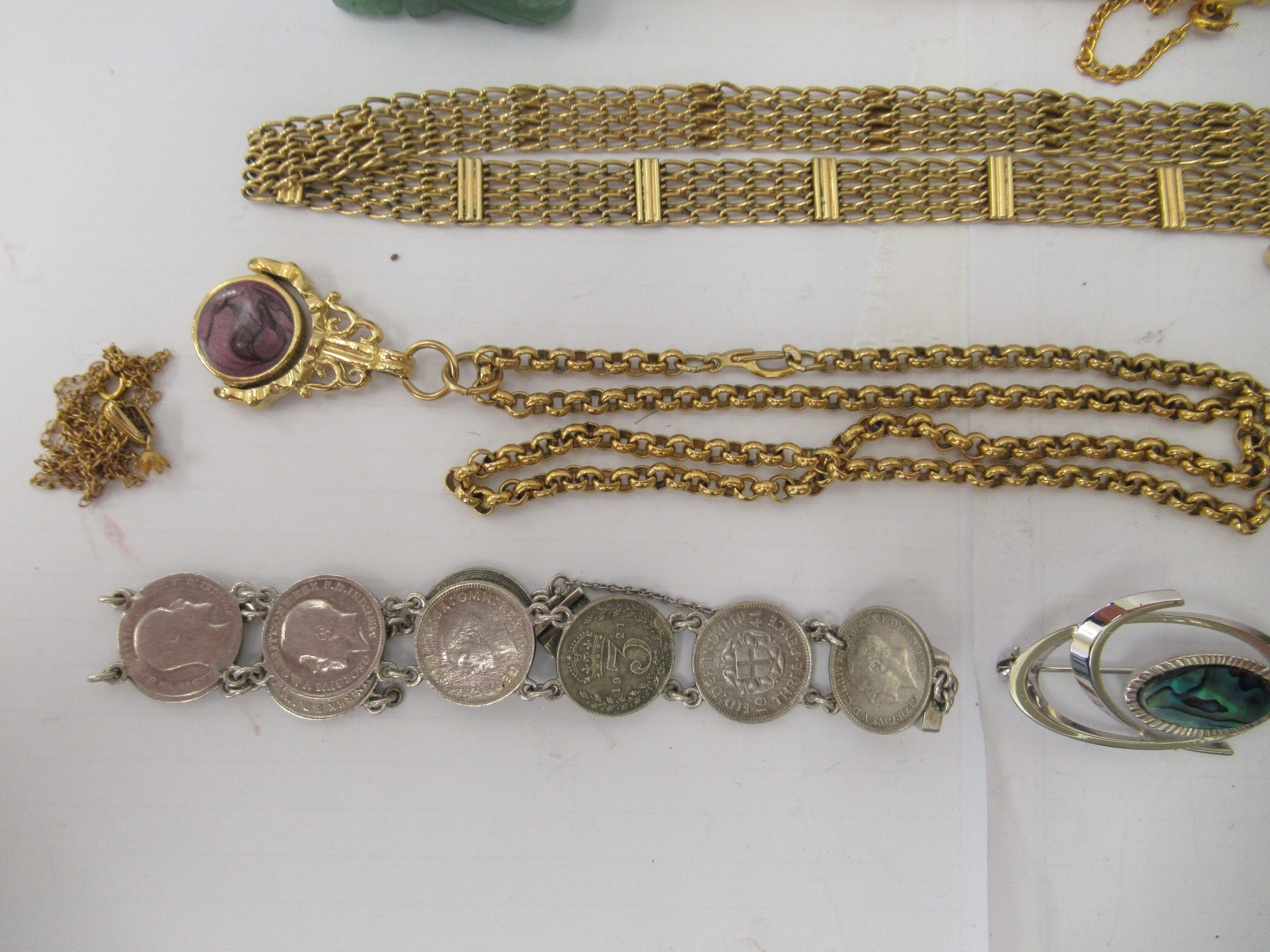 Personal ornament and collectables: to include a silver hinged bangle; and a yellow metal fob watch - Image 5 of 5