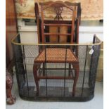 """Small furniture: to include a late 19thC brass and wire mesh fire guard 24""""h 31""""w"""