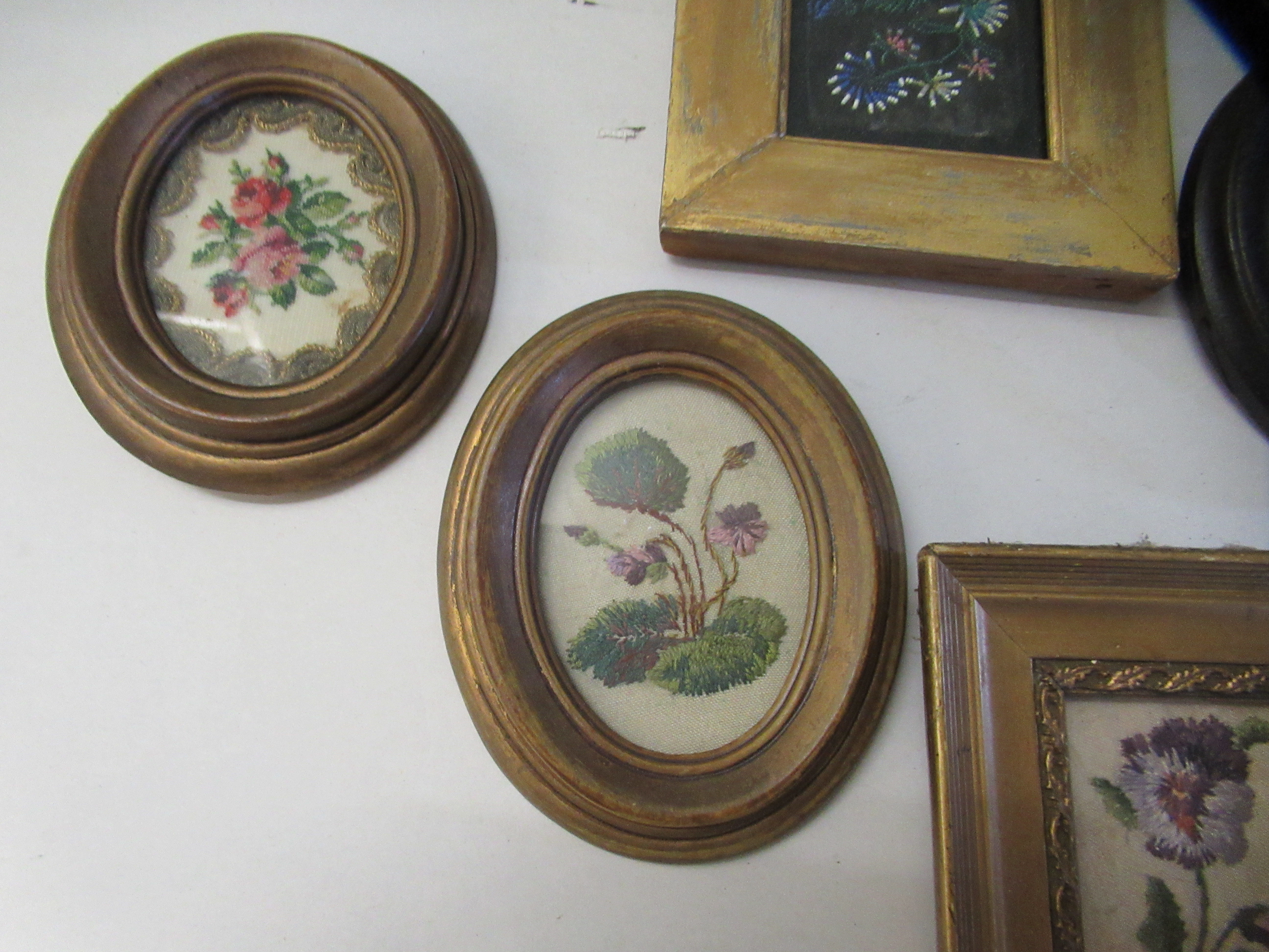 19th and 20thC embroidered tapestry panels various designs & sizes framed - Image 2 of 7