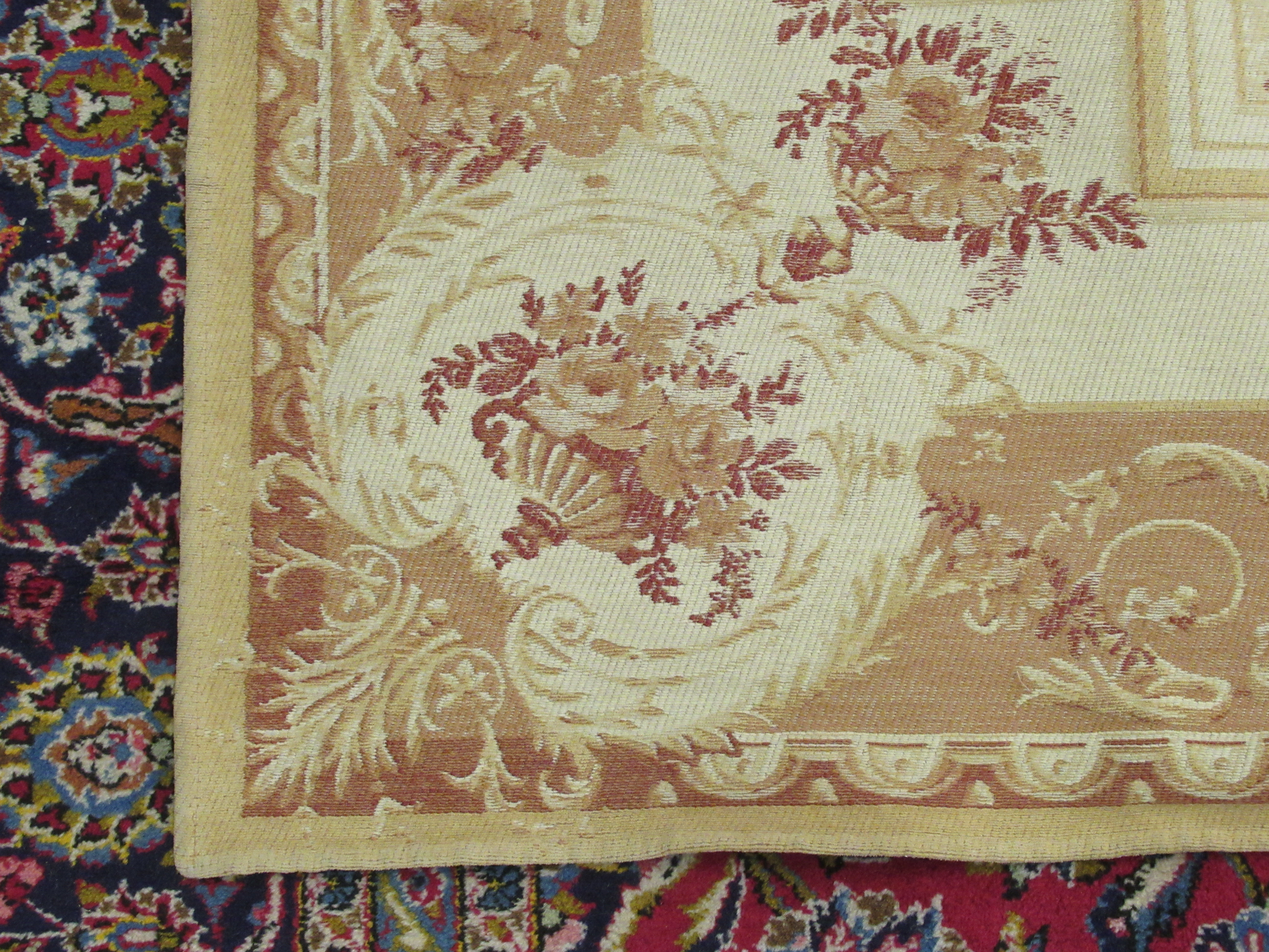 """A Belgian design wall hanging with floral decoration, on a beige ground 89"""" x 60"""" - Image 3 of 5"""