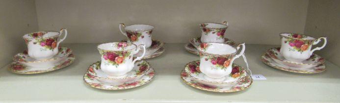 Six Royal Albert bone china Old Country Roses pattern trios