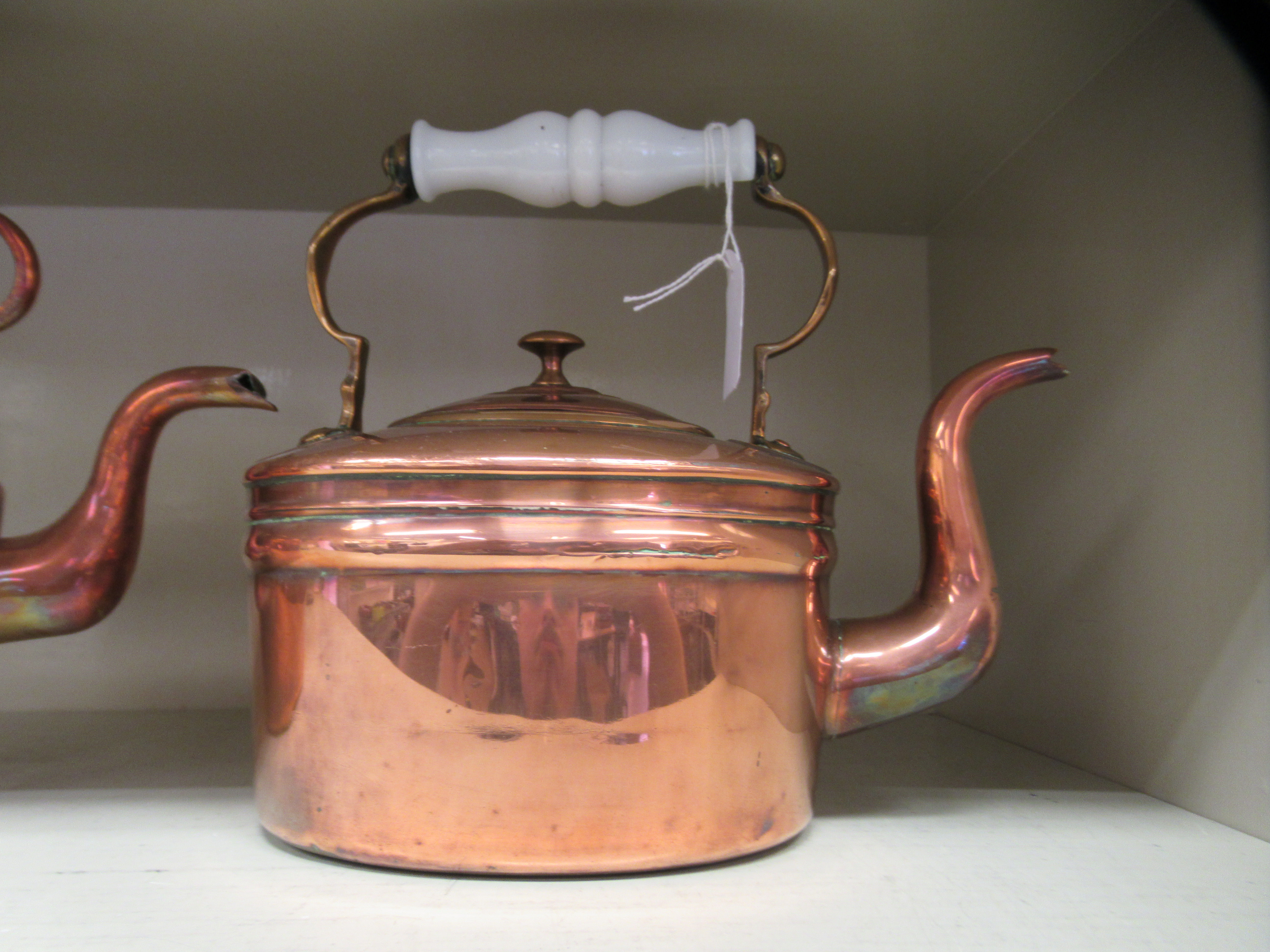 Two late Victorian copper kettles, each with a fixed top handle - Image 3 of 3
