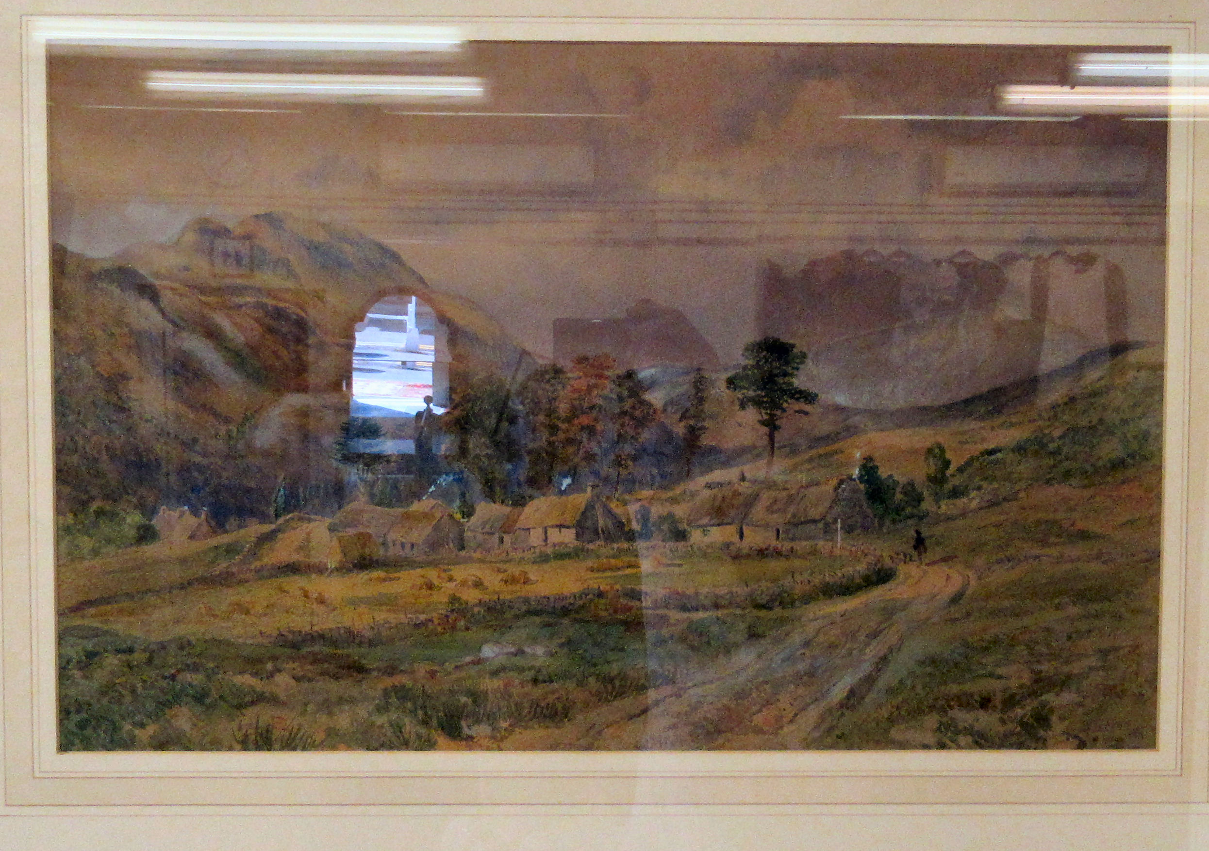 """WW Fenn - a landscape with cottage and hills beyond watercolour bears a signature 19.5"""" x 12"""""""