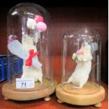 """Taxidermy: two white mice, one holding flowers and balloons 5""""h; the other, wearing a top hat,"""