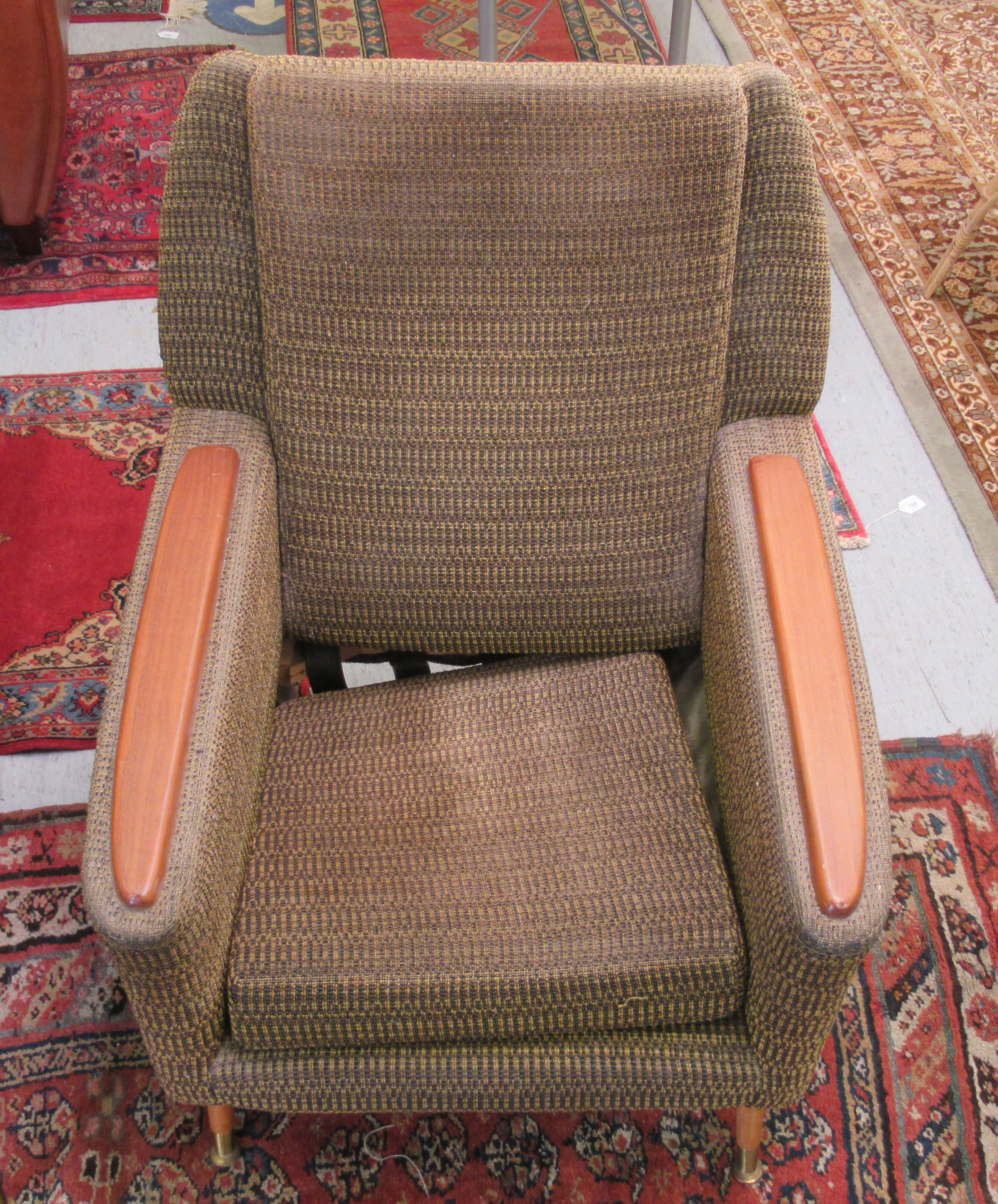 A pair of 1960s/1970s three tone, textured fabric upholstered, low, enclosed armchairs with panelled - Image 2 of 5