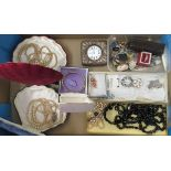 Edwardian and later items of personal ornament: to include pearl necklaces; two 9ct gold rings;