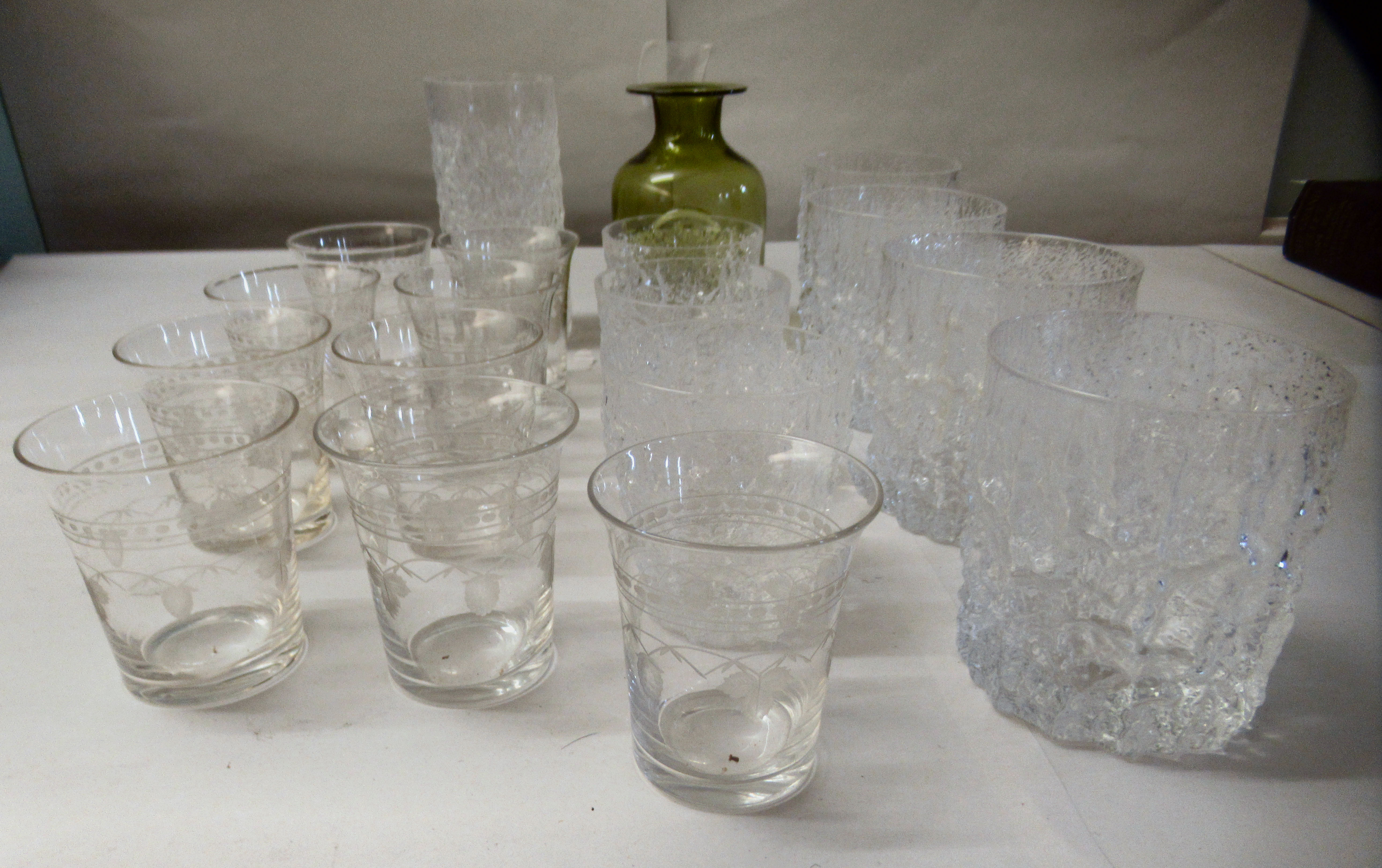 Bark effect Whitefriars cordial and other drinking glasses