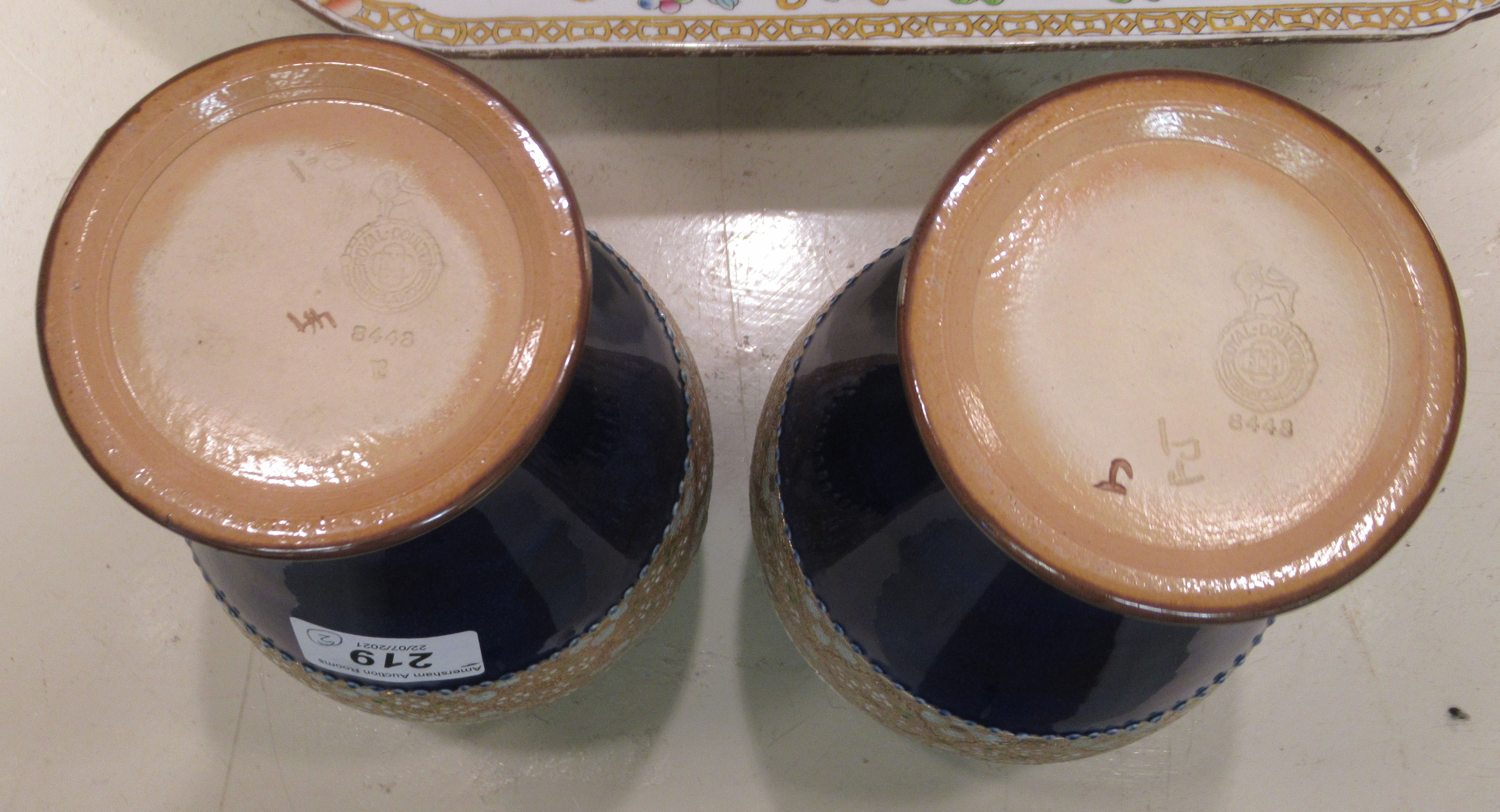 """A pair of Royal Doulton stoneware vases, each with pressed lace decoration 8.5""""h - Image 4 of 5"""