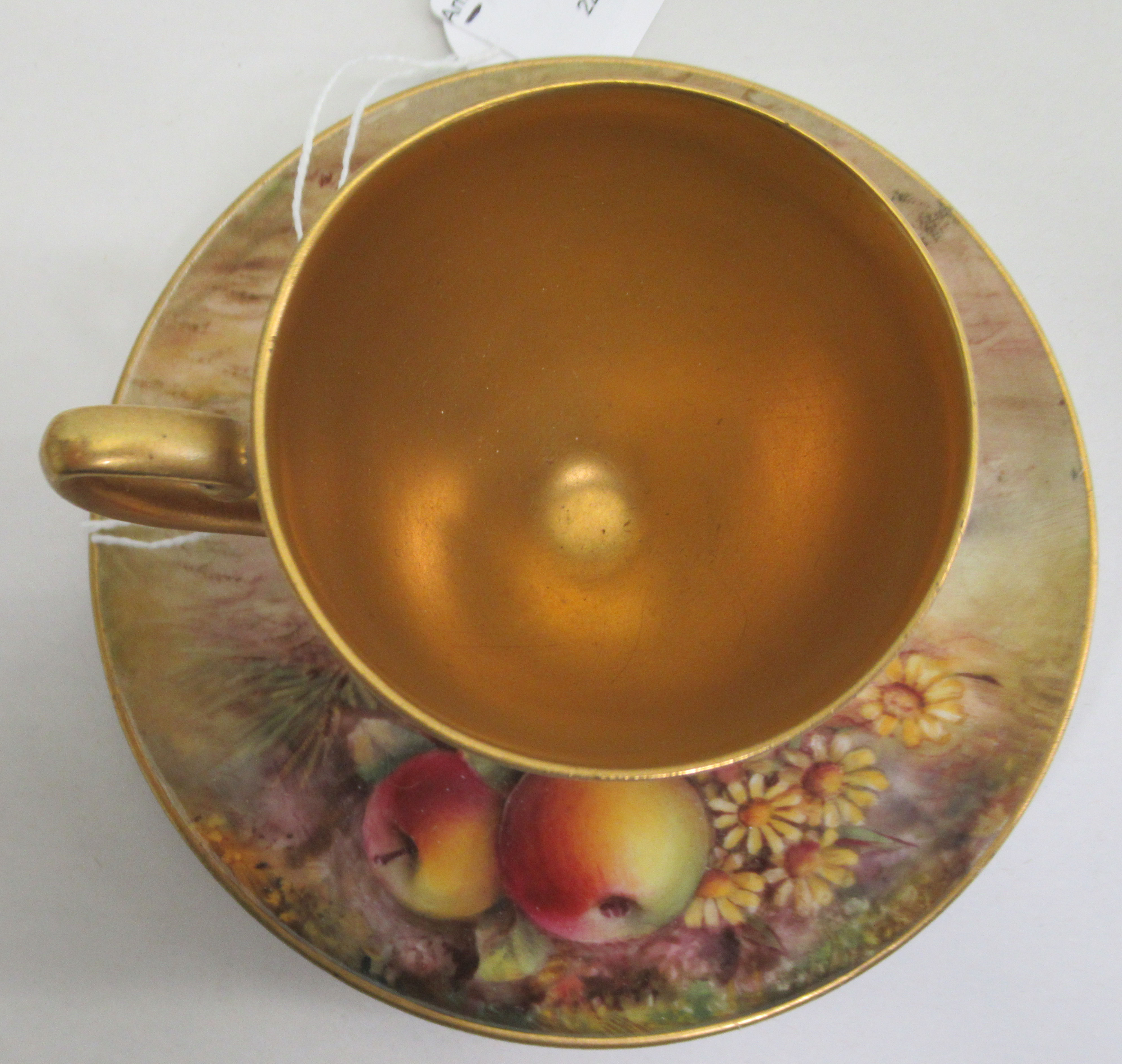A Royal Worcester china matched pedestal coffee cup and saucer, decorated with soft fruit and - Image 3 of 14