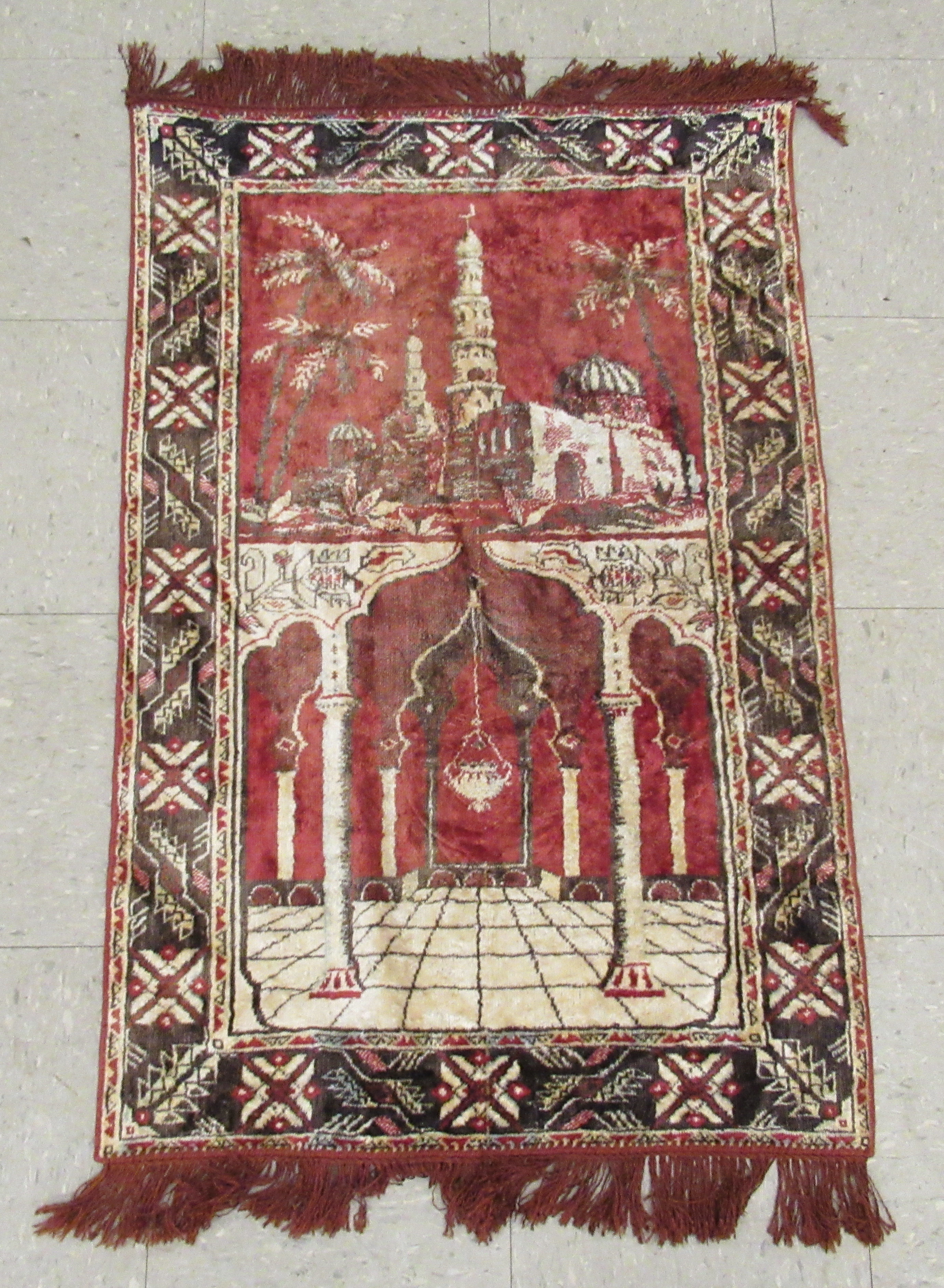 """Three wall hangings: to include a tapestry, depicting a temple 42"""" x 27"""" - Image 4 of 7"""