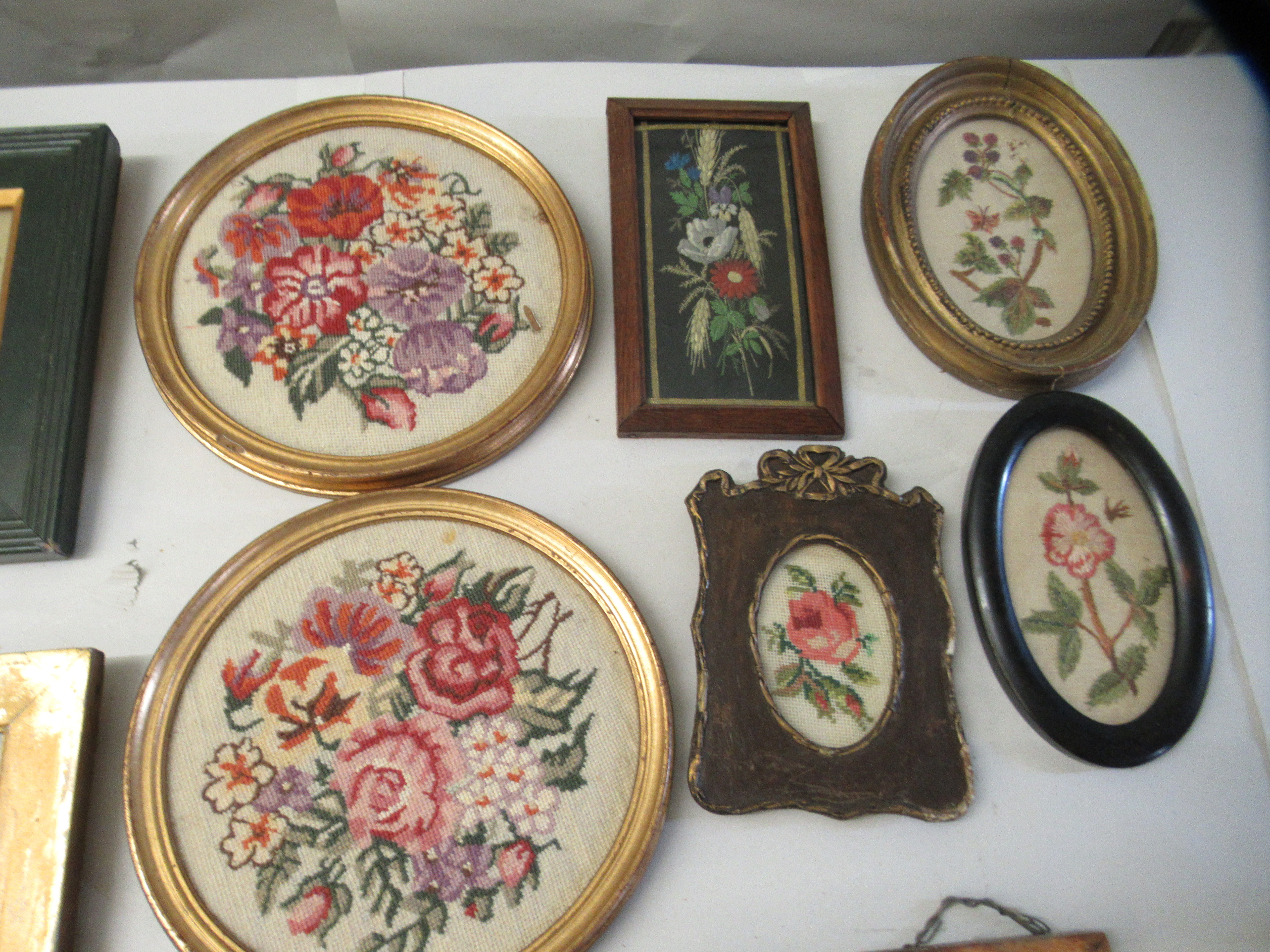 19th and 20thC embroidered tapestry panels various designs & sizes framed - Image 5 of 7