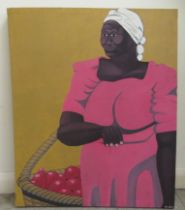 """M Coto - a woman carrying a basket of fruit oil on canvas bears a signature 28"""" x 23"""" mounted on"""