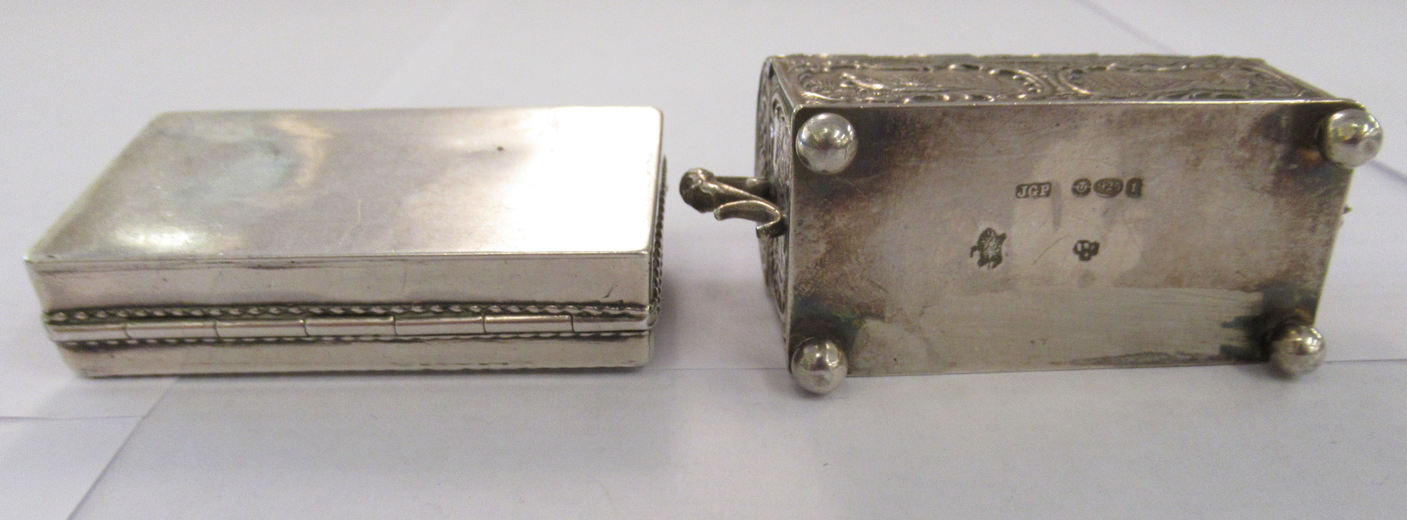 Two early 20thC Continental silver coloured metal items, viz. a domed twin handled, casket deign - Image 3 of 5
