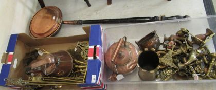 19thC and 20thC metalware: to include a copper warming pan, bells and candlesticks various sizes