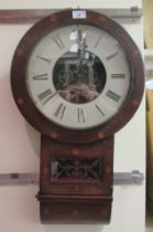 A late 19thC Anglo American inlaid mahogany cased, drop dial wall clock; the exposed bell strike