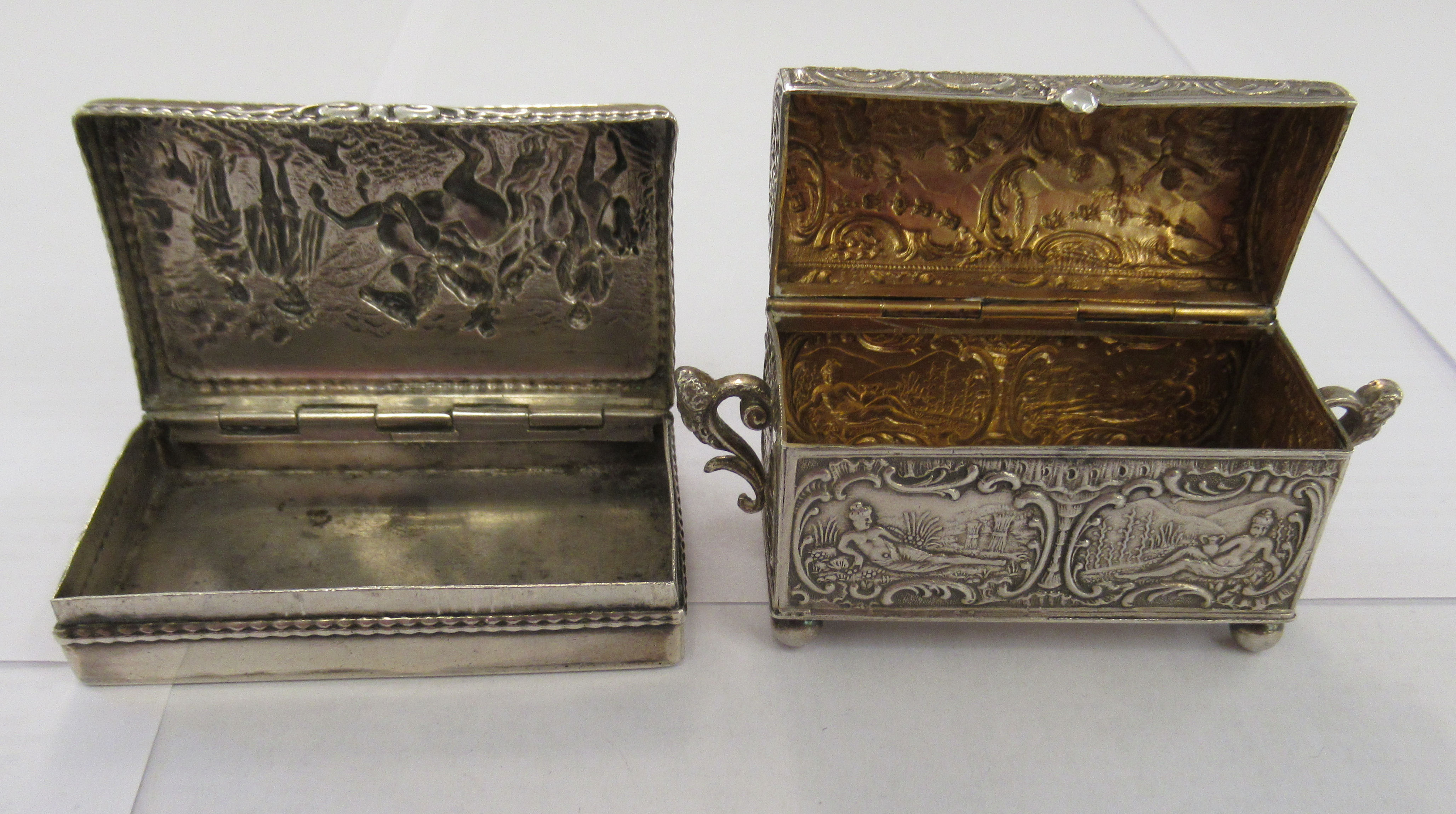 Two early 20thC Continental silver coloured metal items, viz. a domed twin handled, casket deign - Image 2 of 5